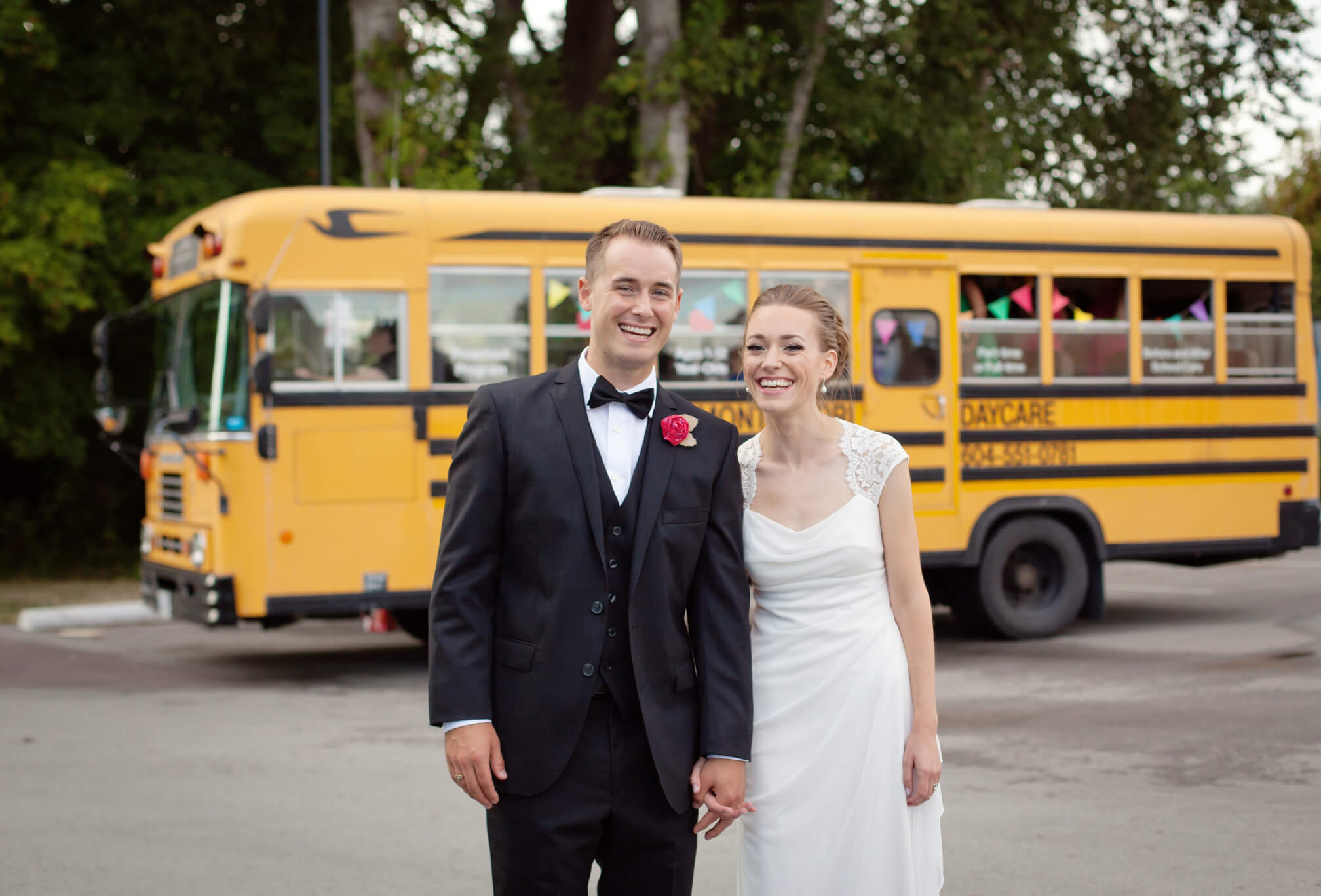 bride and groom yellow school bus