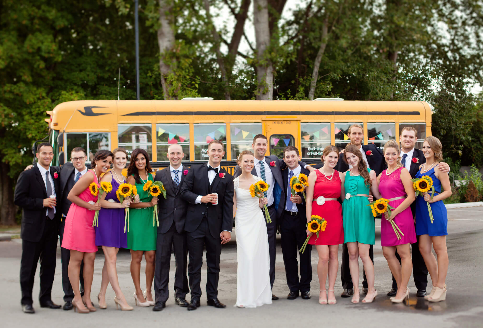 colouful bridal party in delta bc