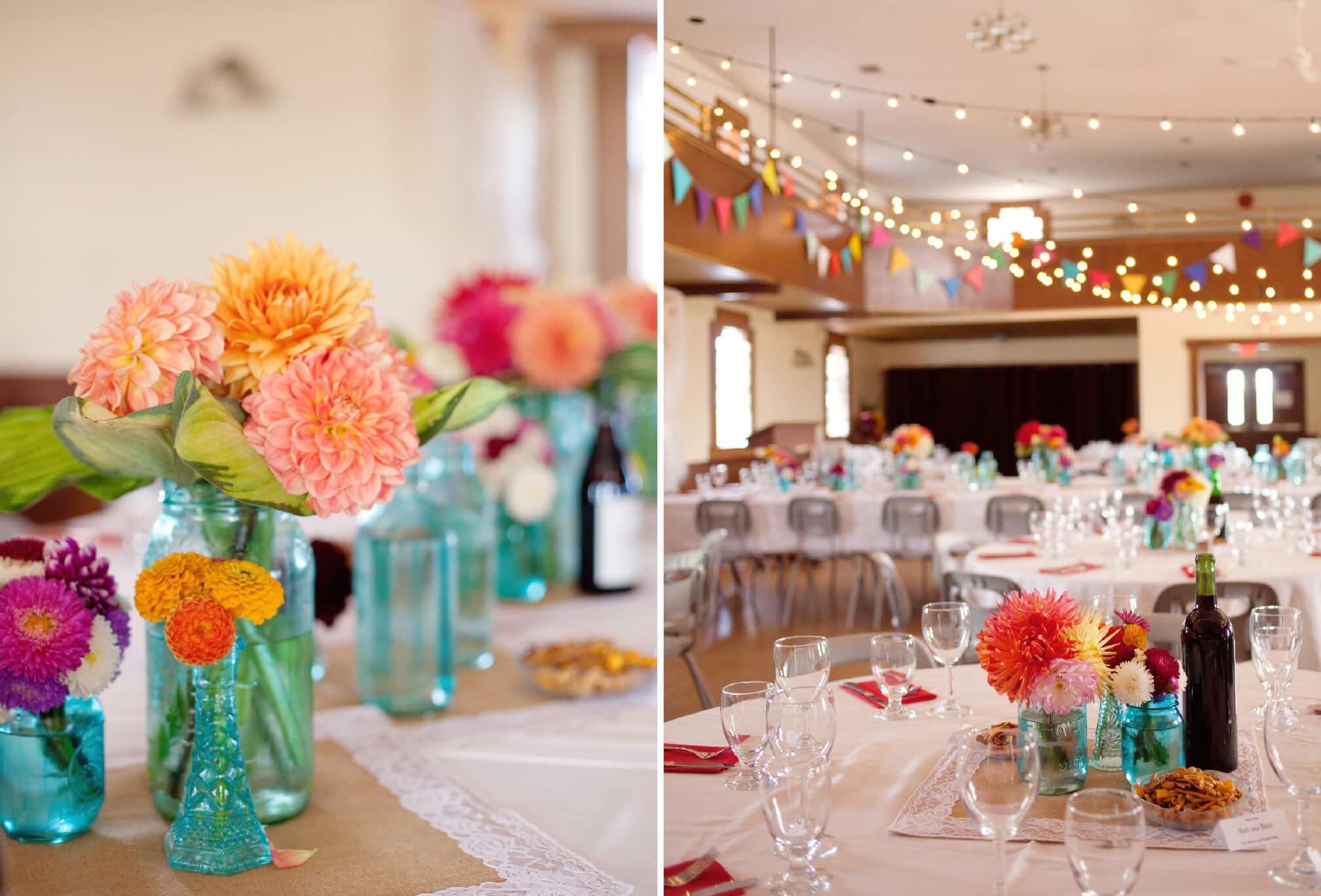 colourful wedding decor dahlias