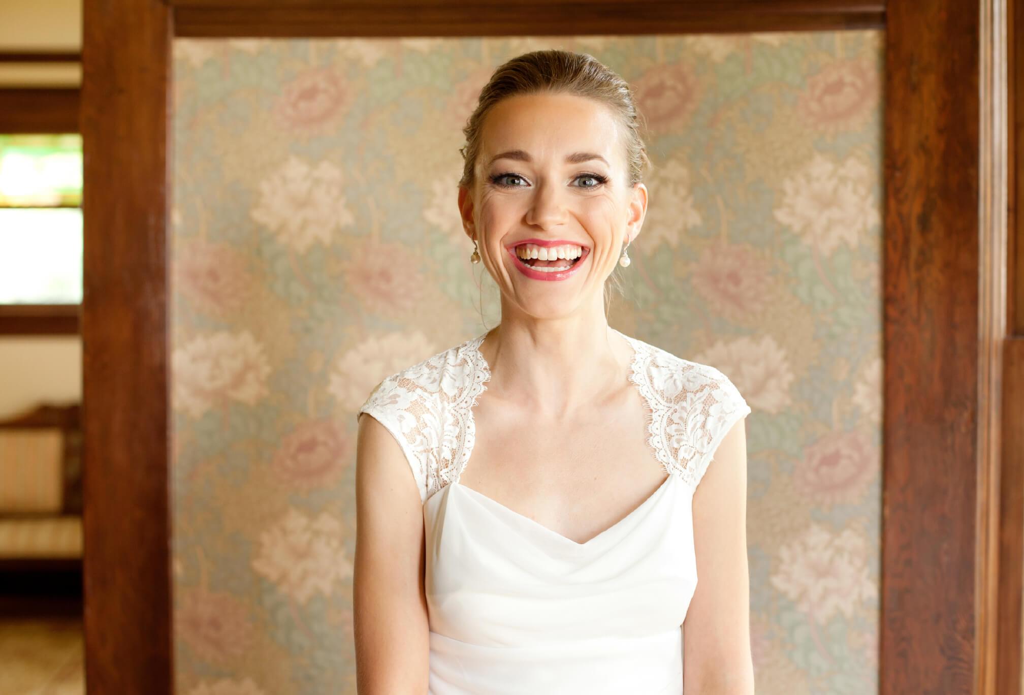 smiling bride vintage dress bc wedding