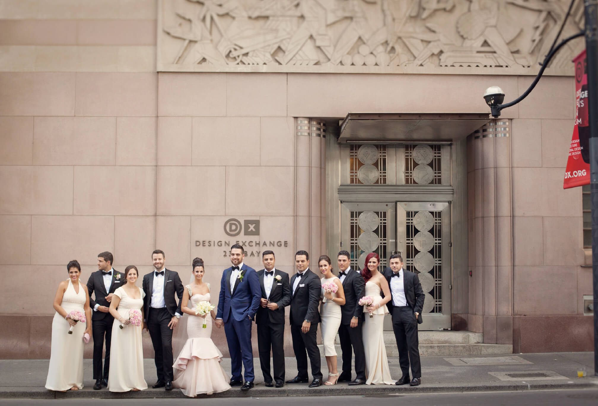 bridal party outside design exchange