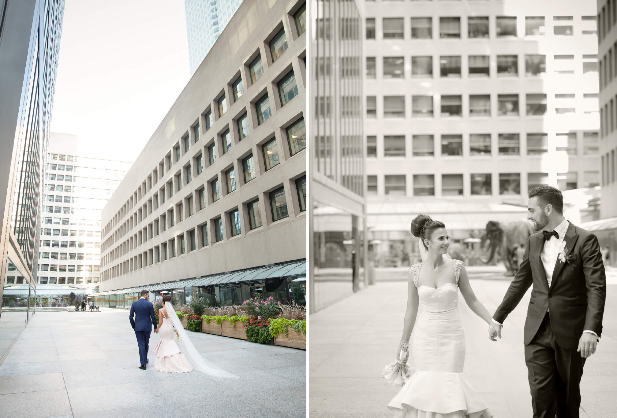 bride and groom walking on bay street toronto