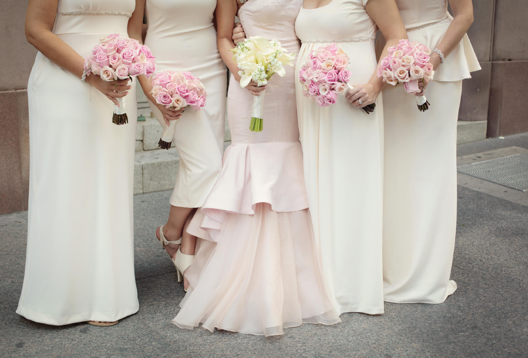 pink and white bridesmaids style