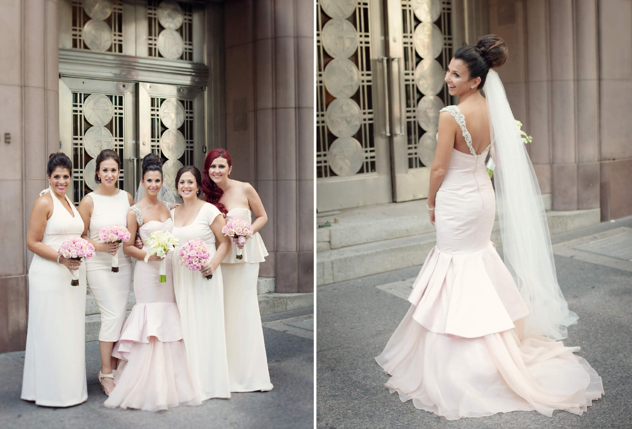pink wedding dress bride style