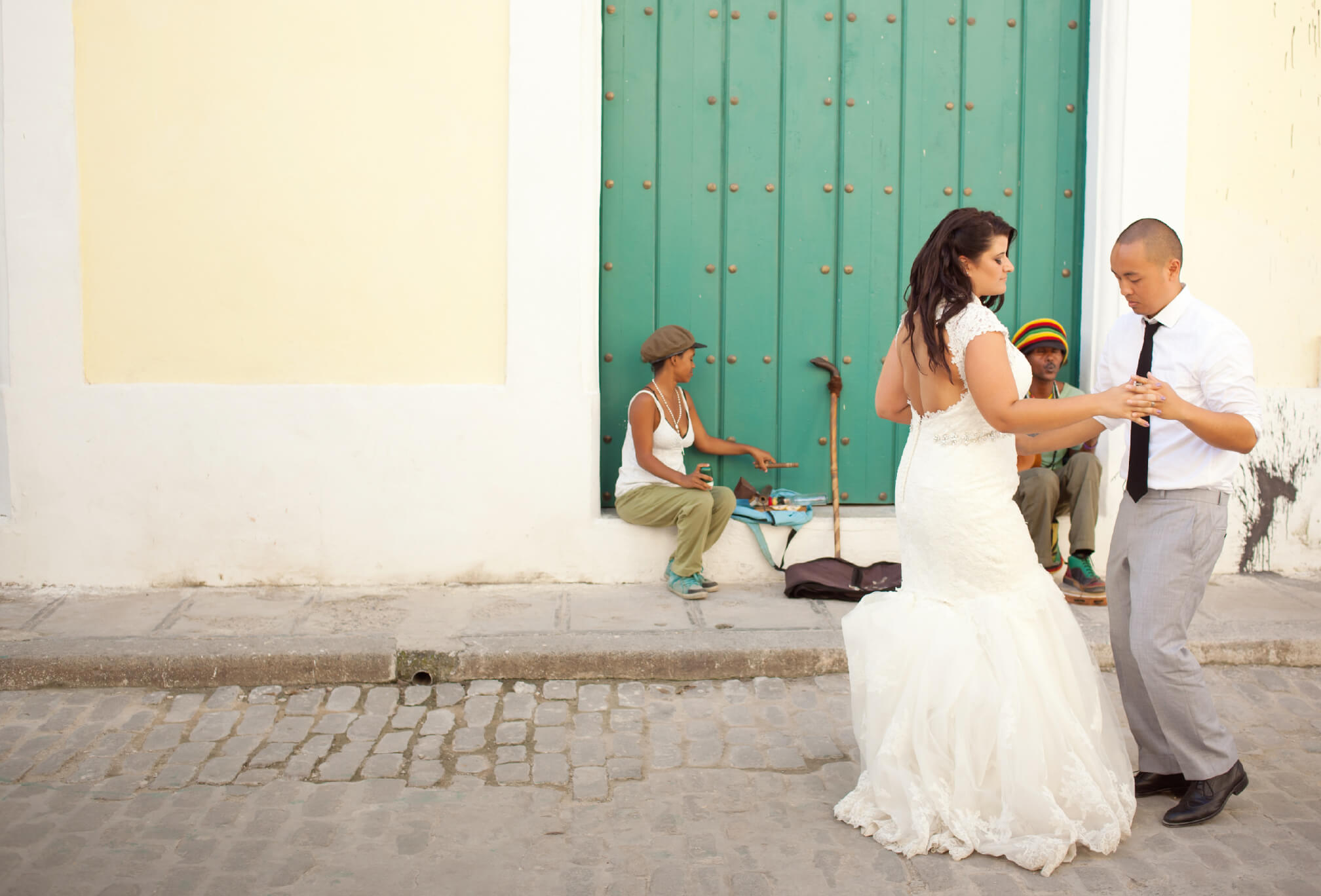 destination wedding bride and groom dancing cuba