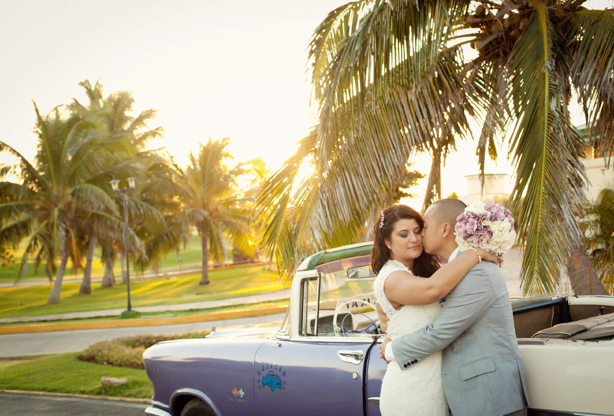 bride and groom vintage taxi cuba