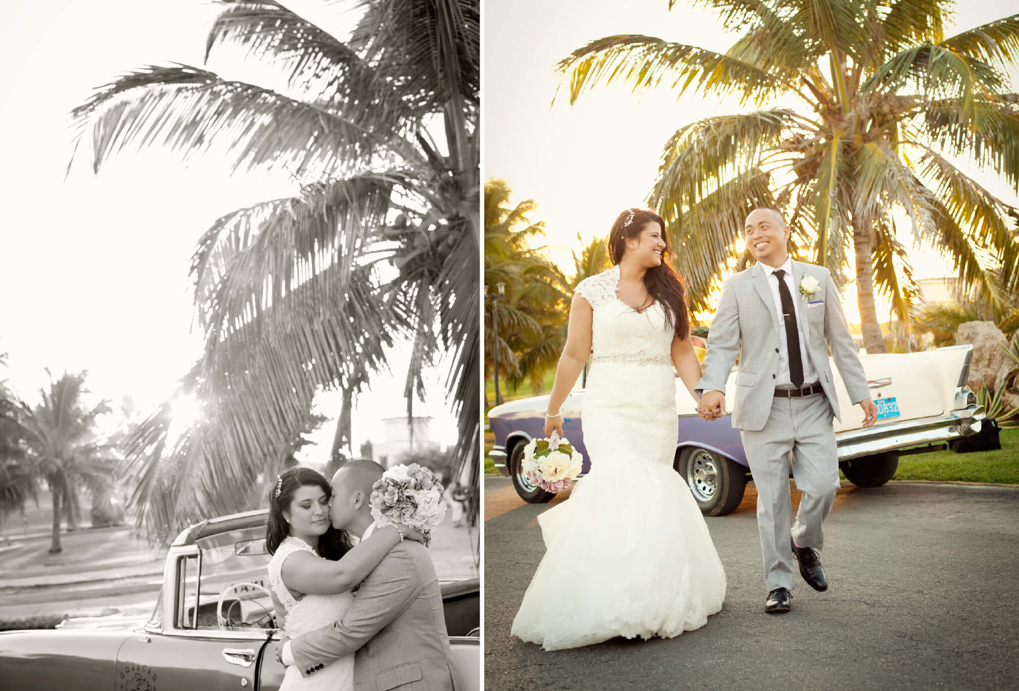 bride and groom vintage taxi palm trees cuba destination wedding