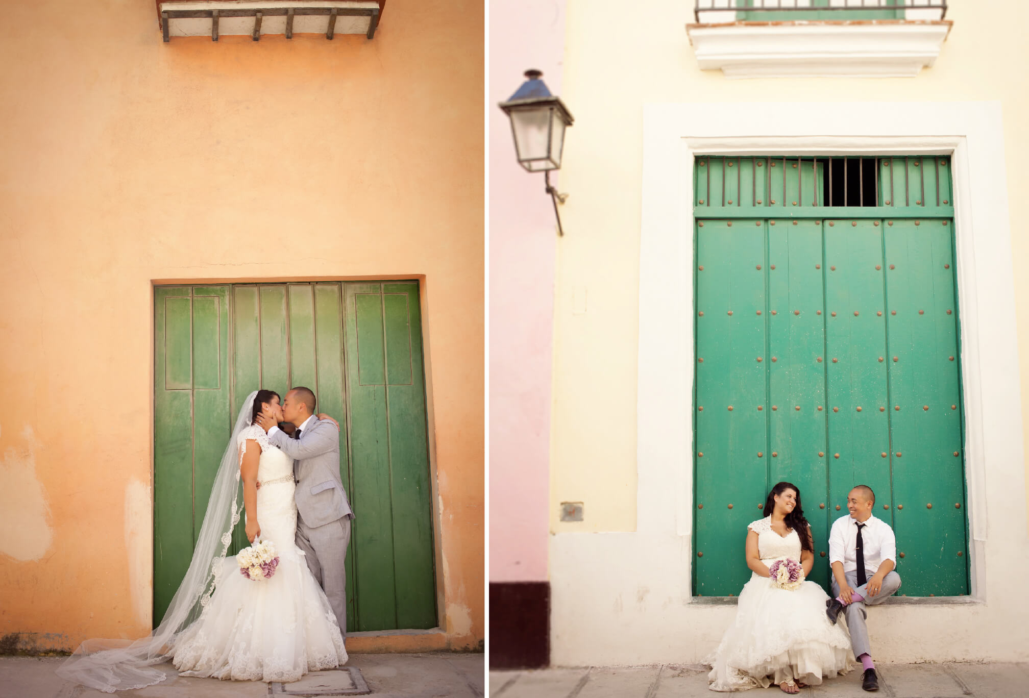 bride and groom colourful cuba wedding