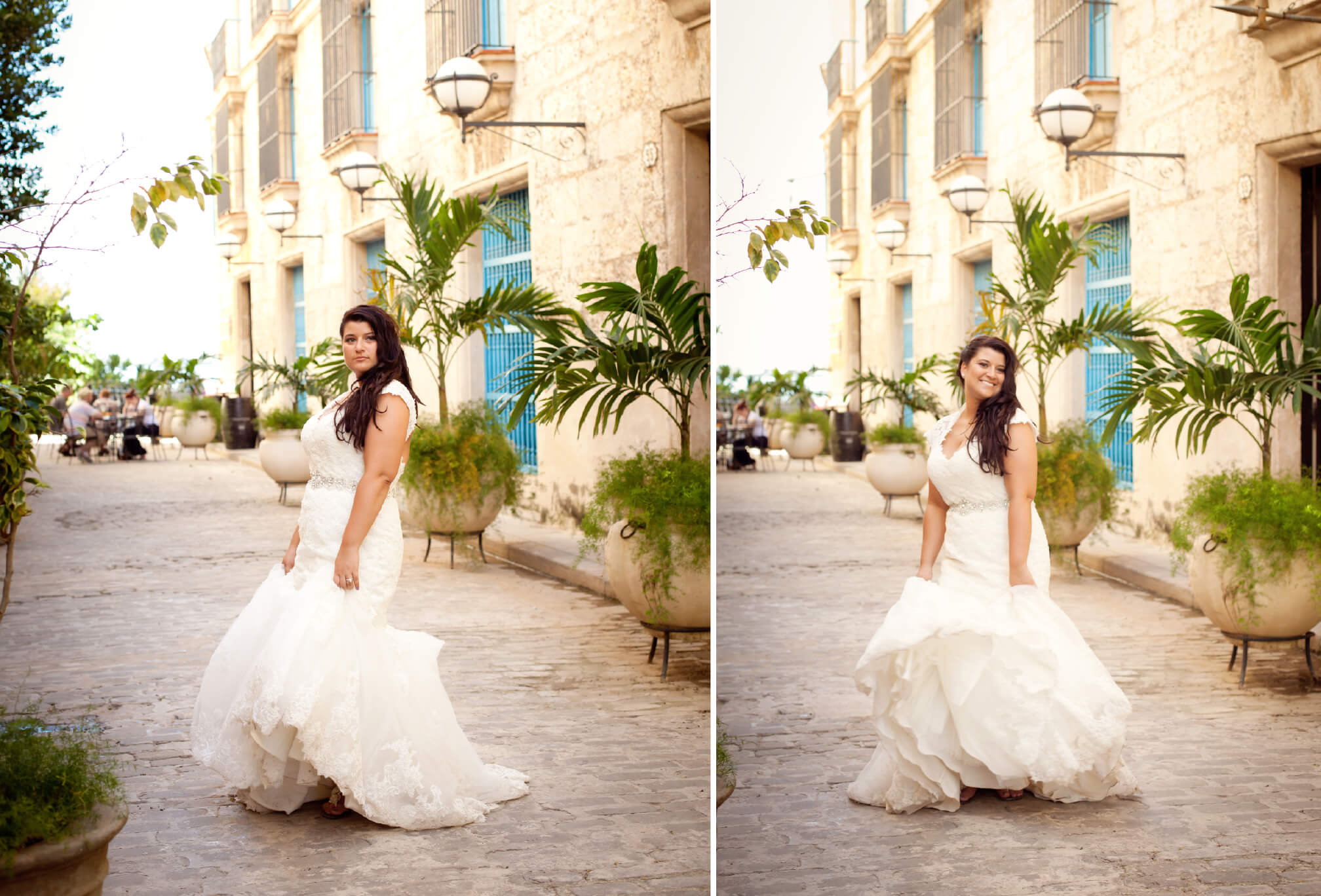 bride in lace vintage wedding dress cuba