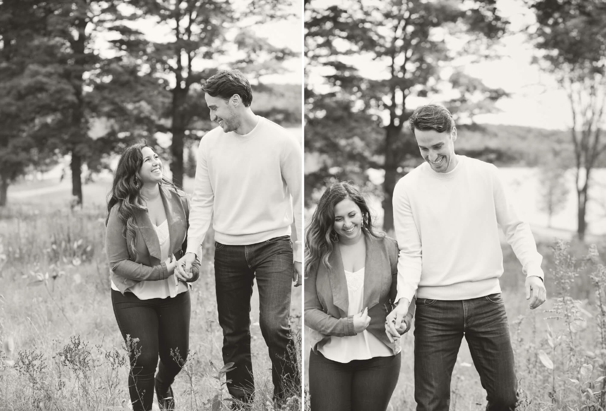 black and white candid engagement