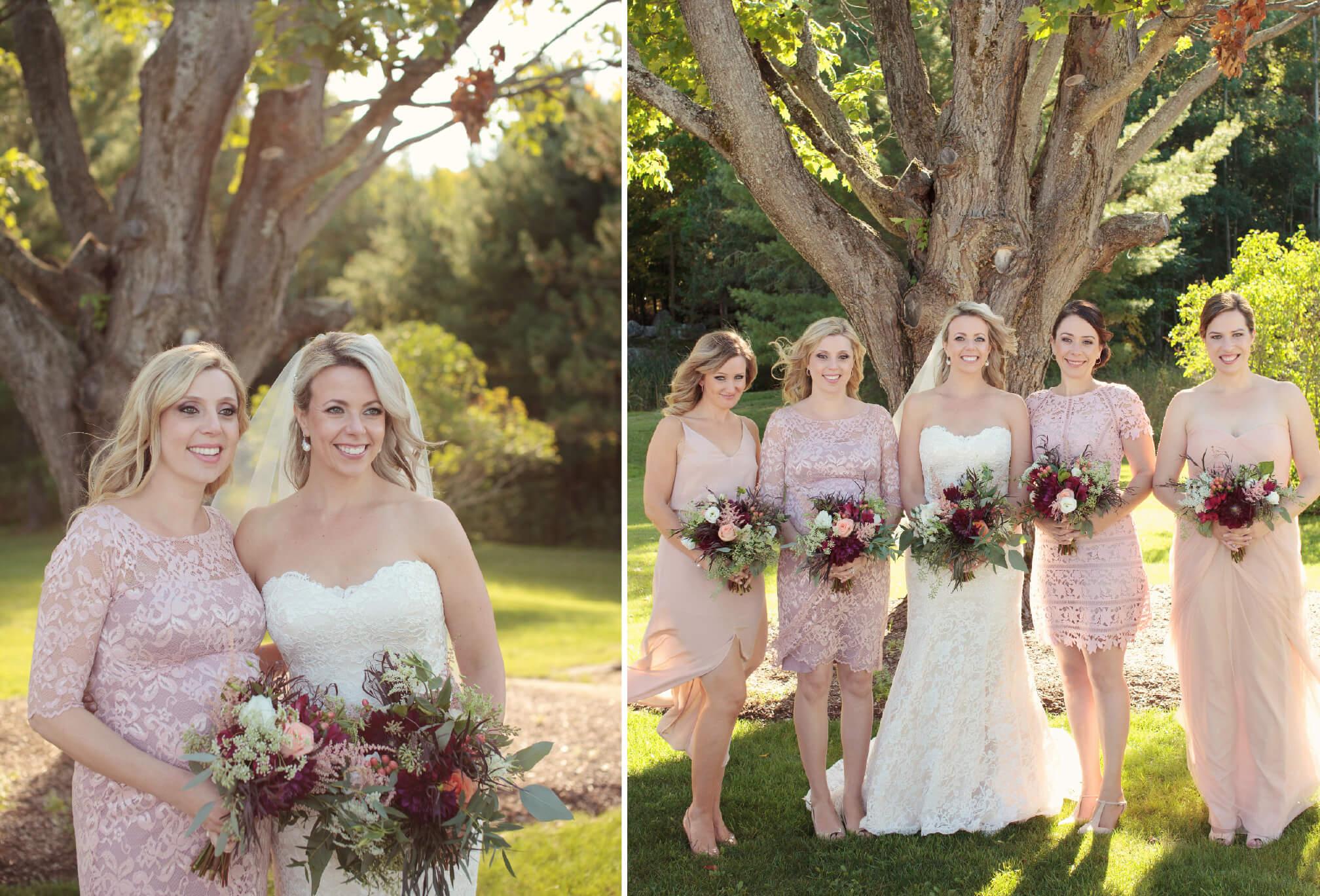 pink bridesmaids cottage wedding