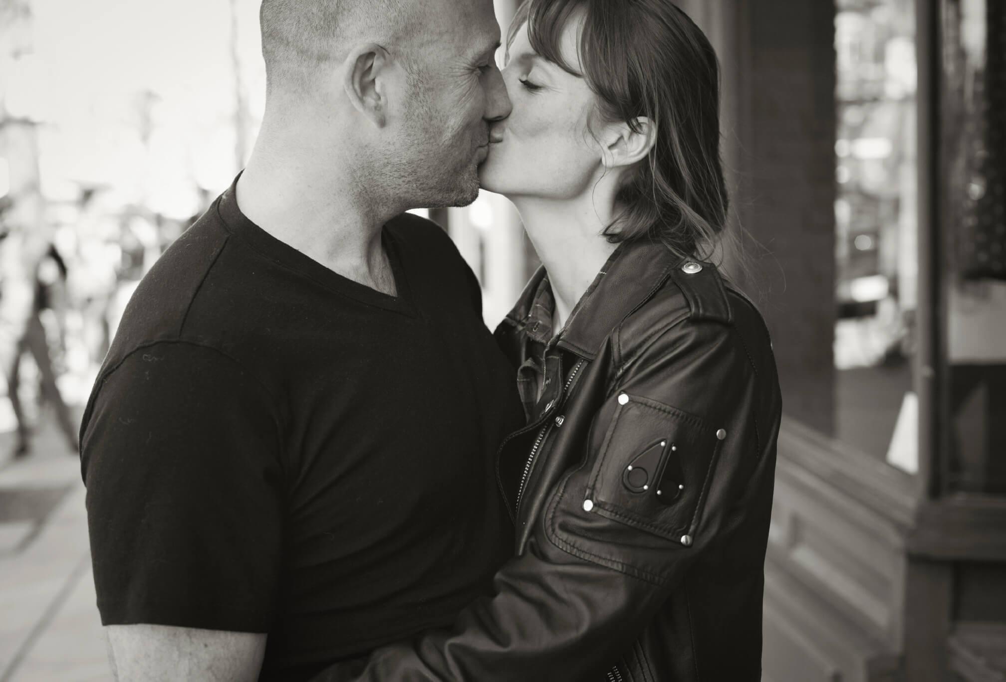 black and white kissing engagement session toronto