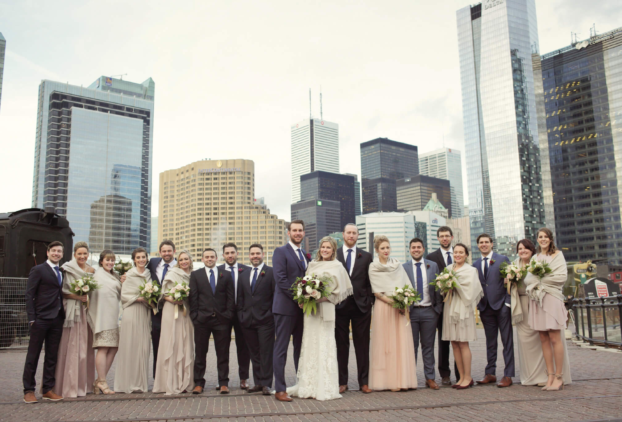 bridal party toronto skyline