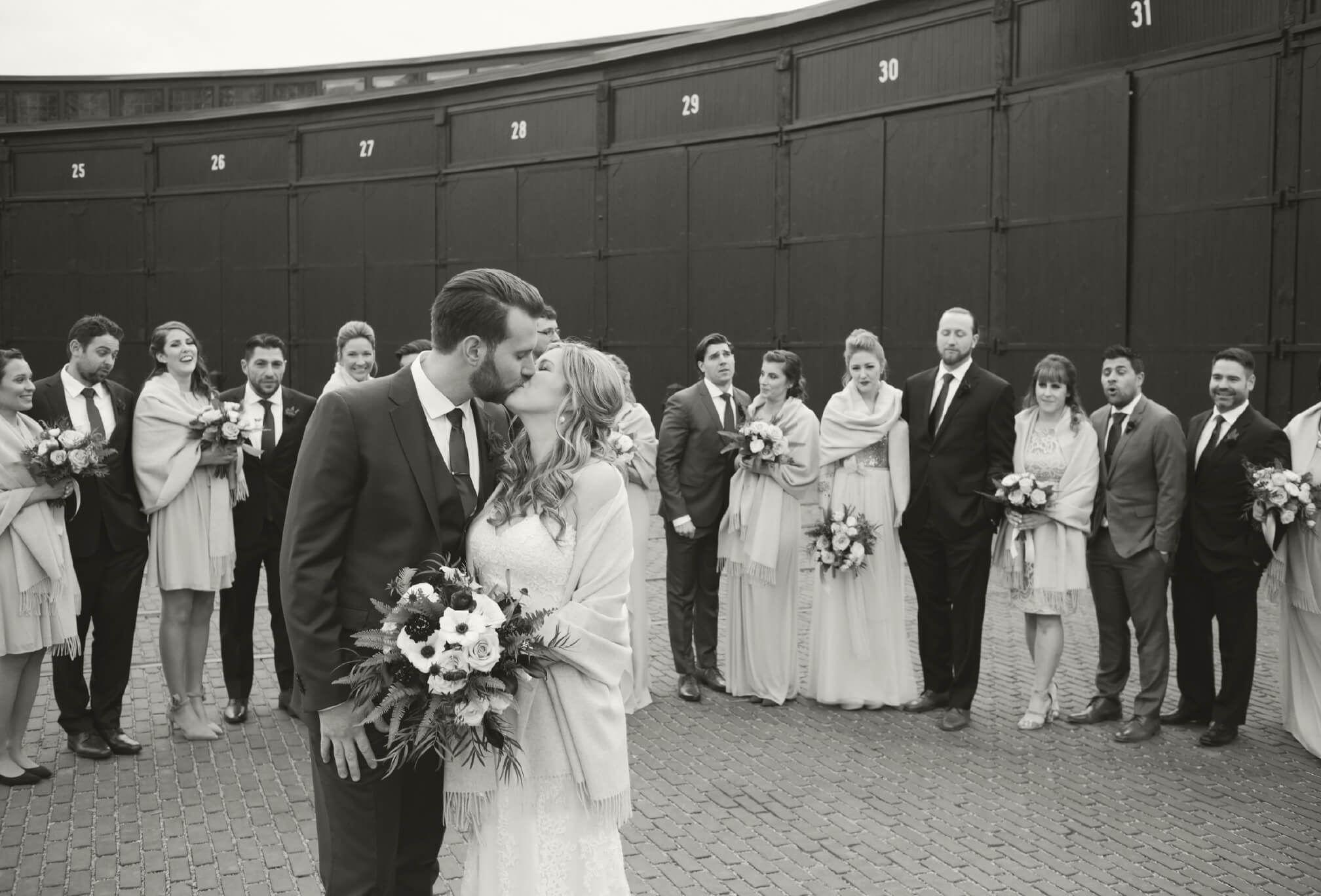 bridal party winter wedding at steam whistle