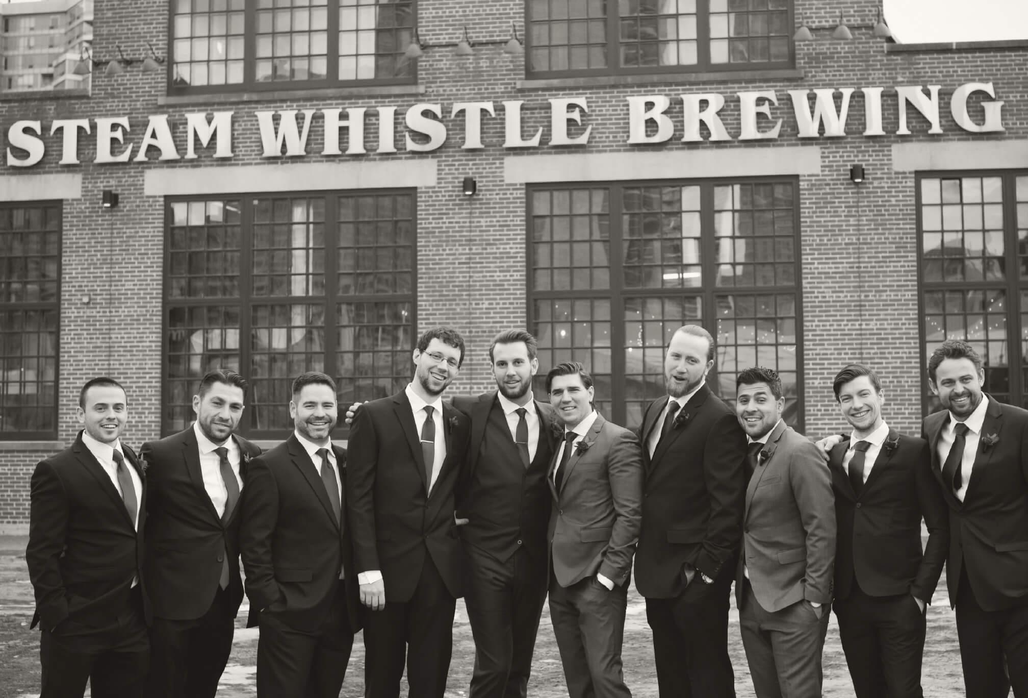groomsmen at steam whistle wedding
