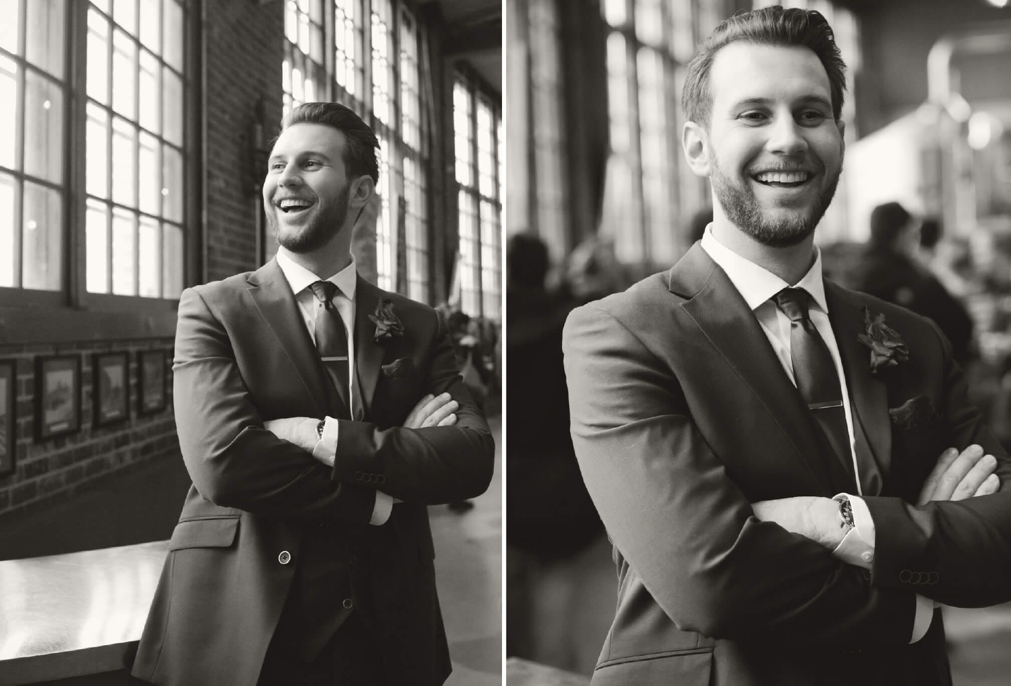 groom laughing inside steam whistle