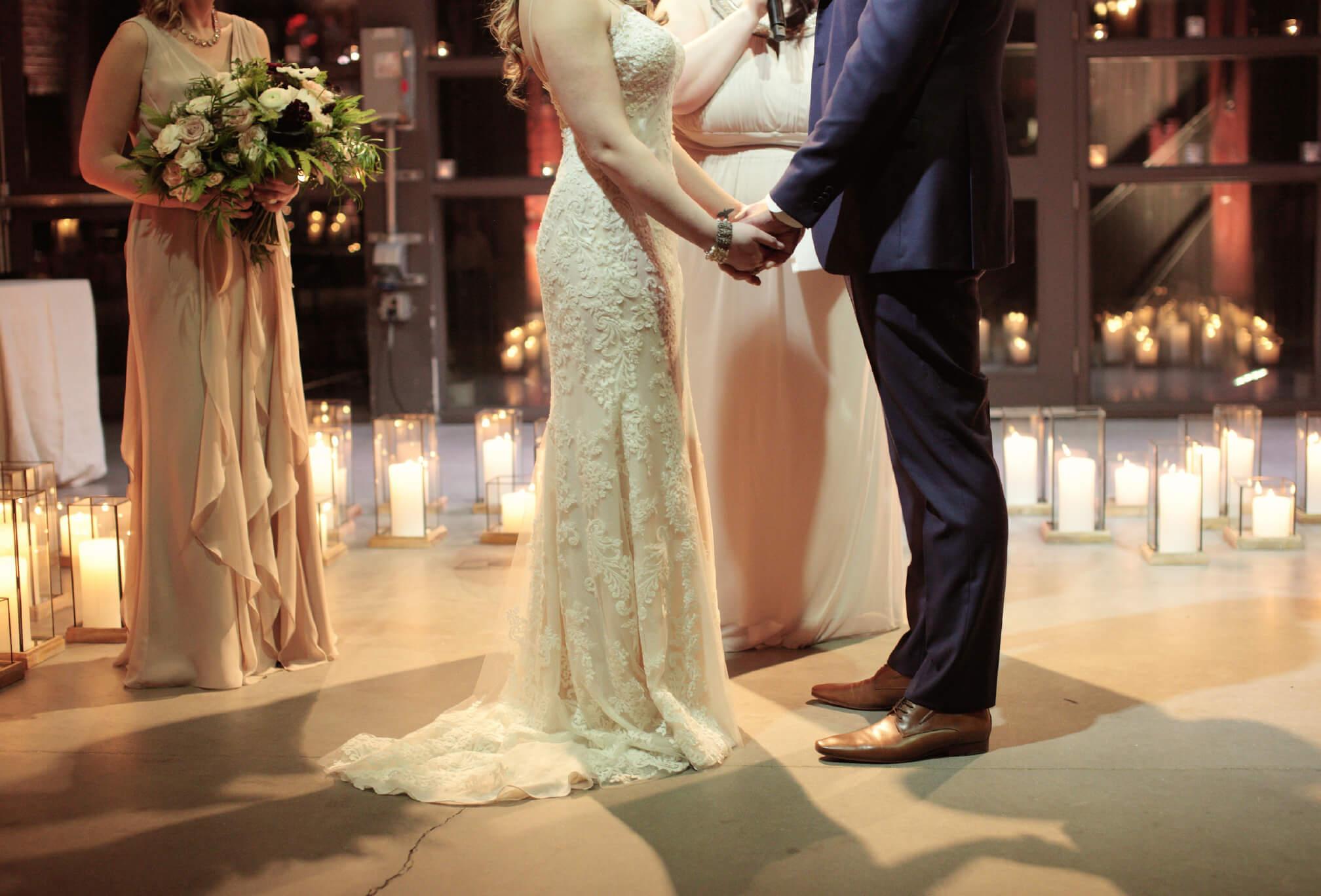 wedding ceremony inside steam whistle winter wedding
