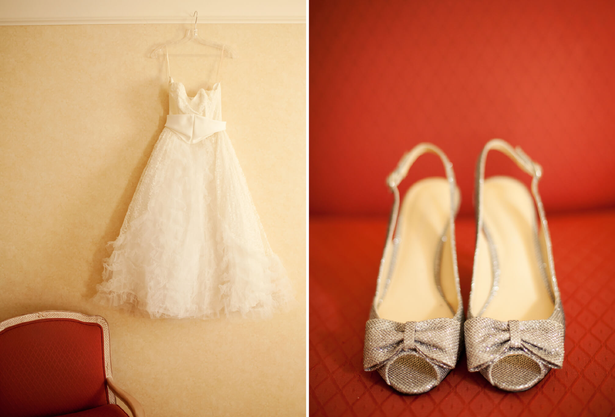 vintage lace wedding dress and shoes