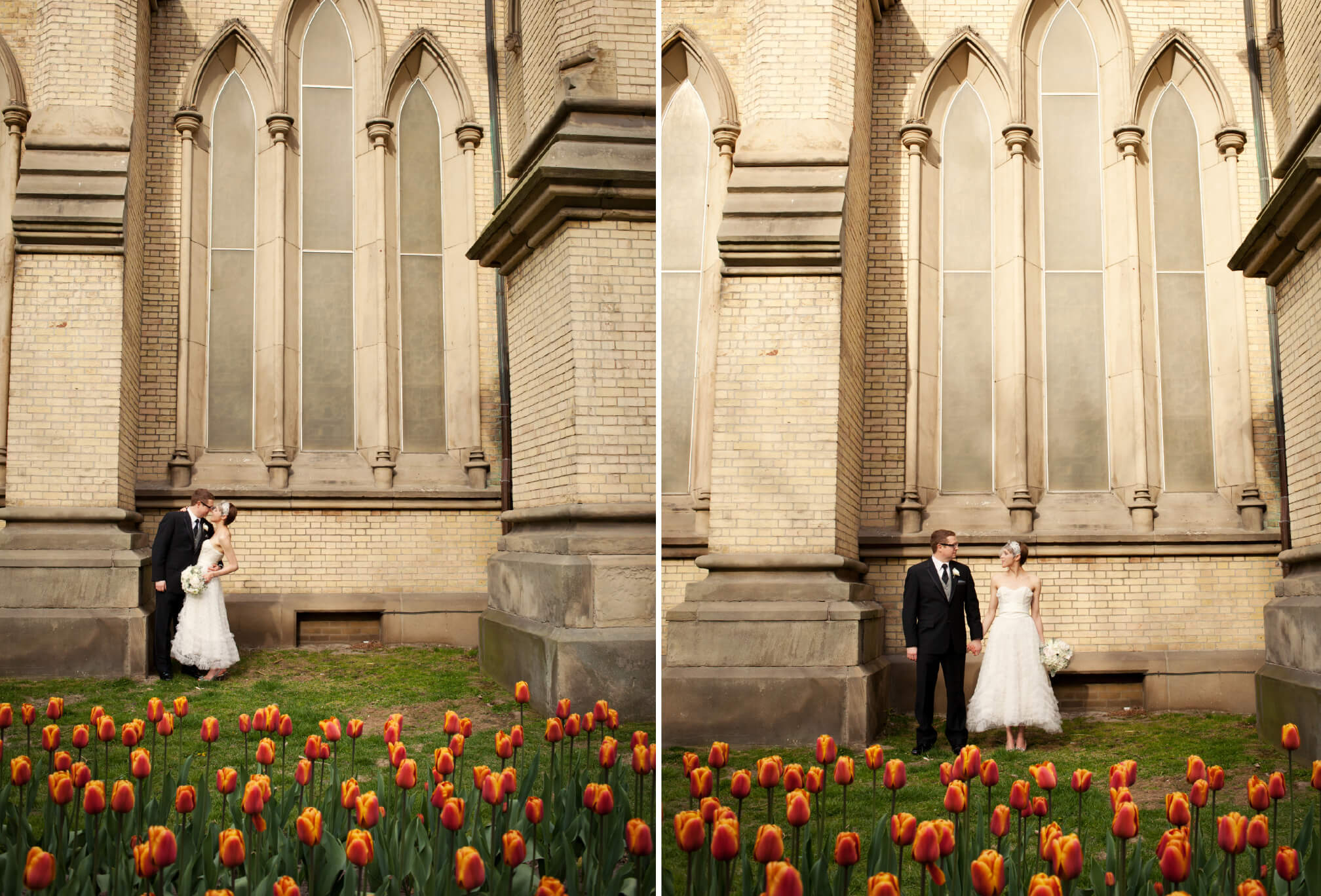 tulips st. James Cathedral toronto bride and groom