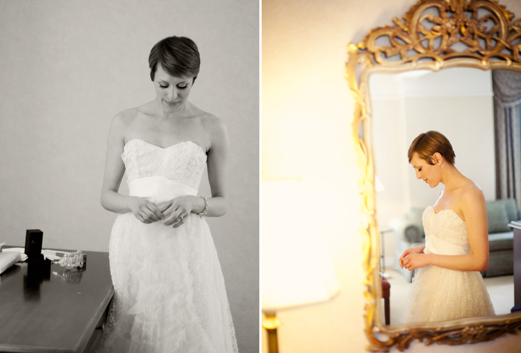 bride with short hair lace wedding dress