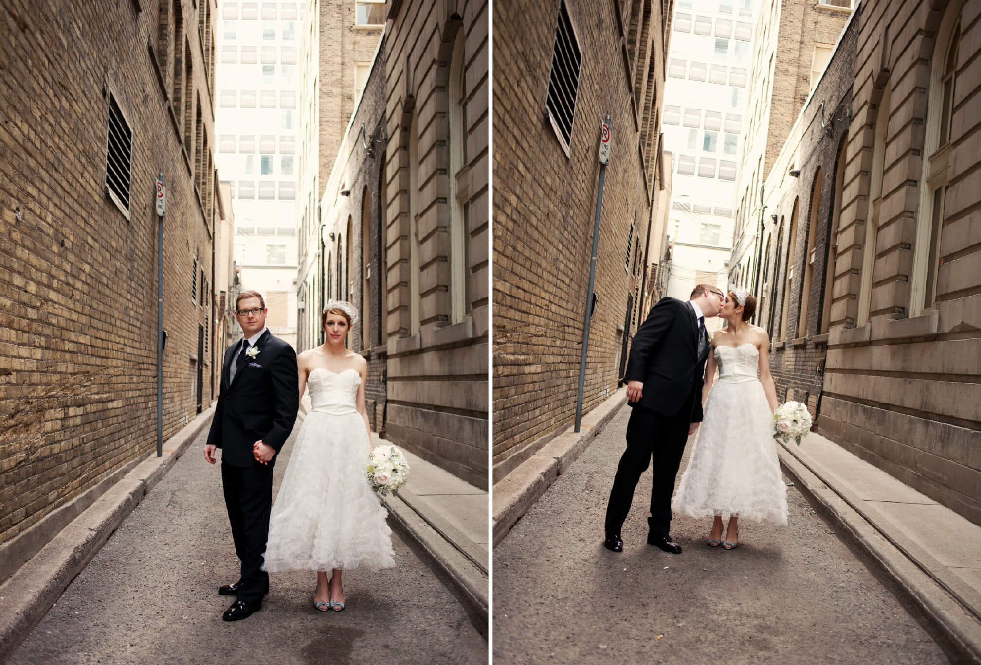 vintage bride and groom style downtown toronto alleyways