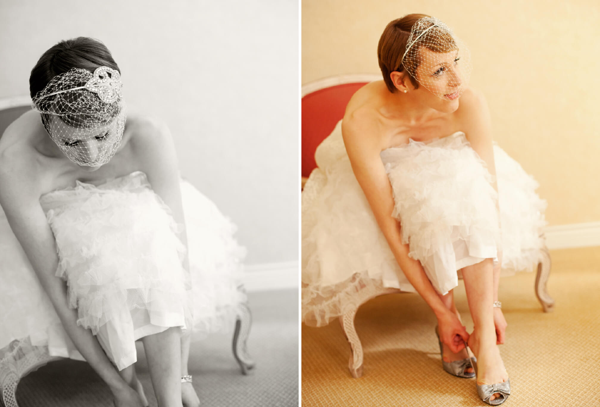 bride with vintage birdcage veil fascinator