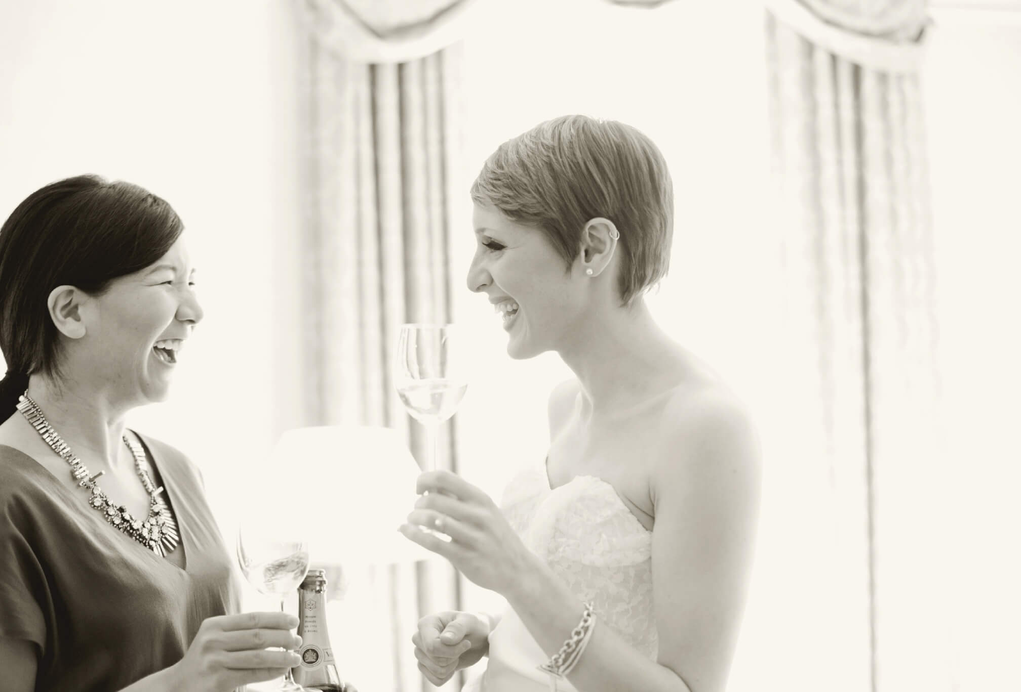 bride with pixie cut