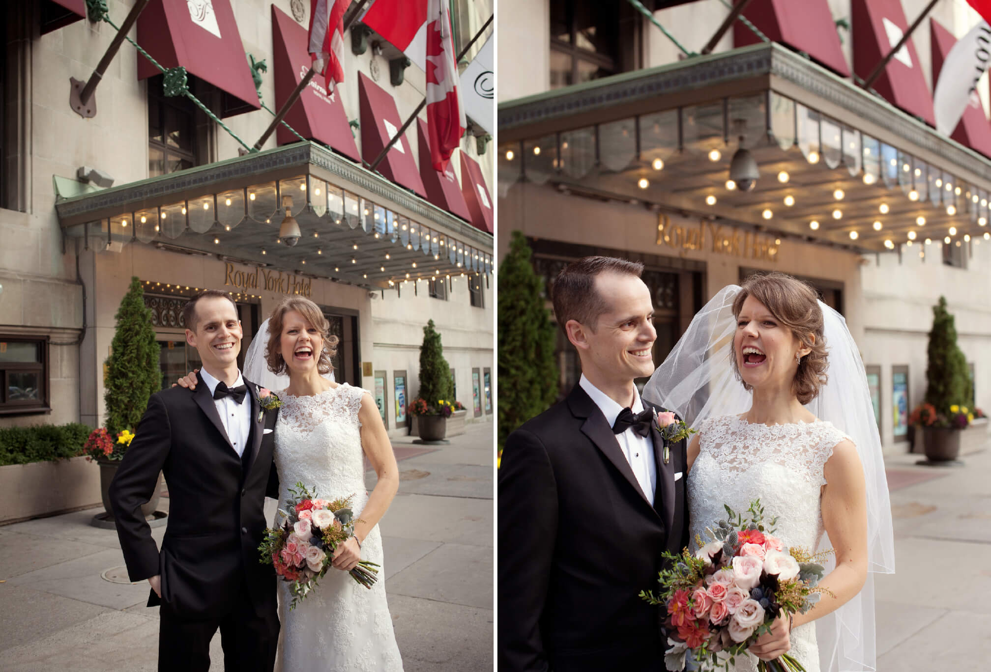 bride and groom laughing outside royal york wedding