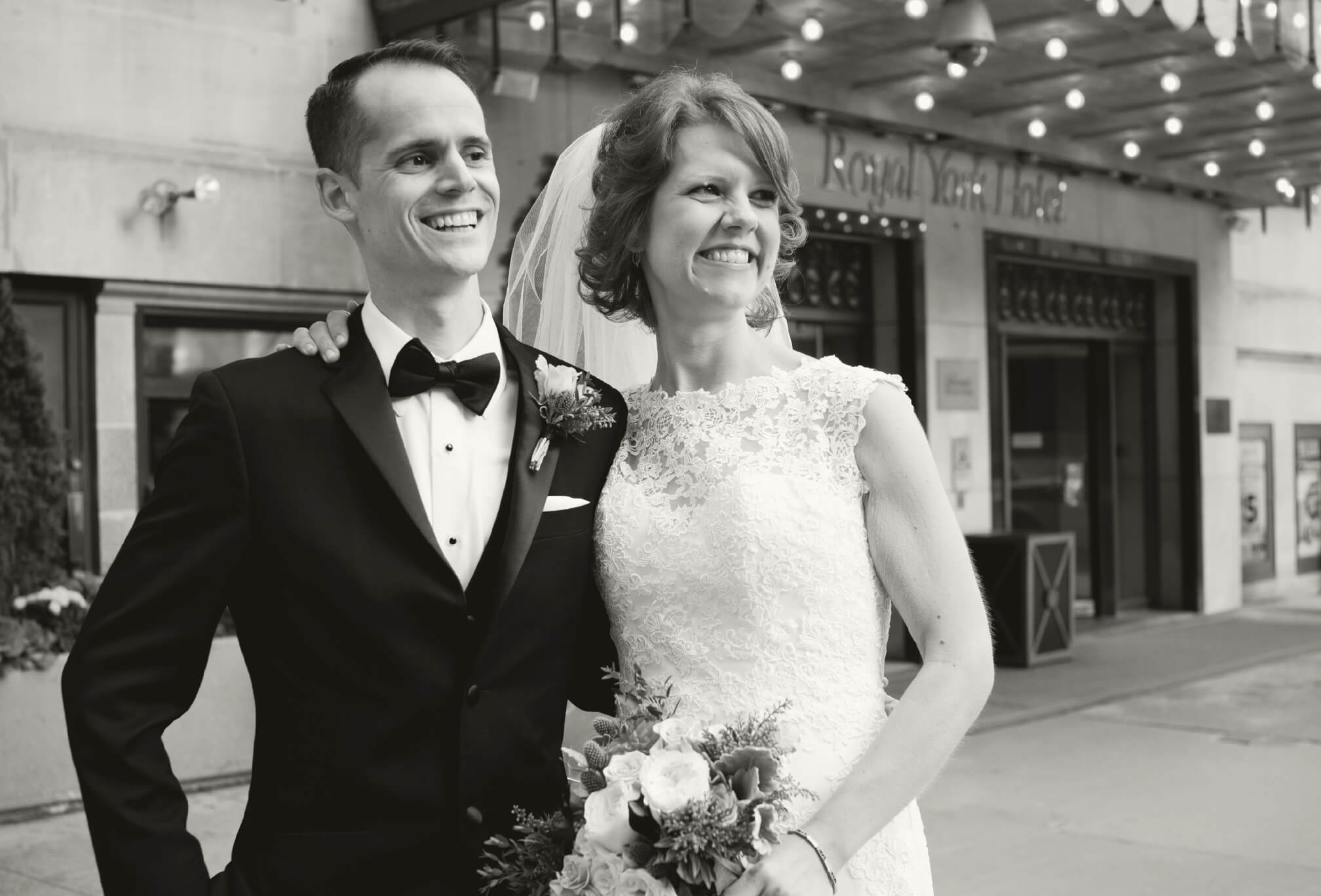bride and groom black and white smiling royal york hotel
