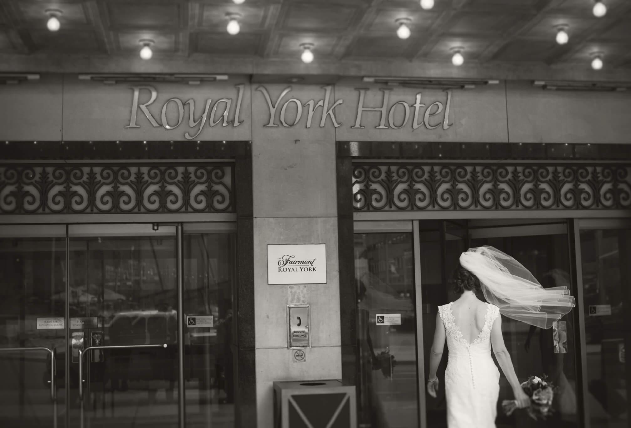 bride entering royal york hotel