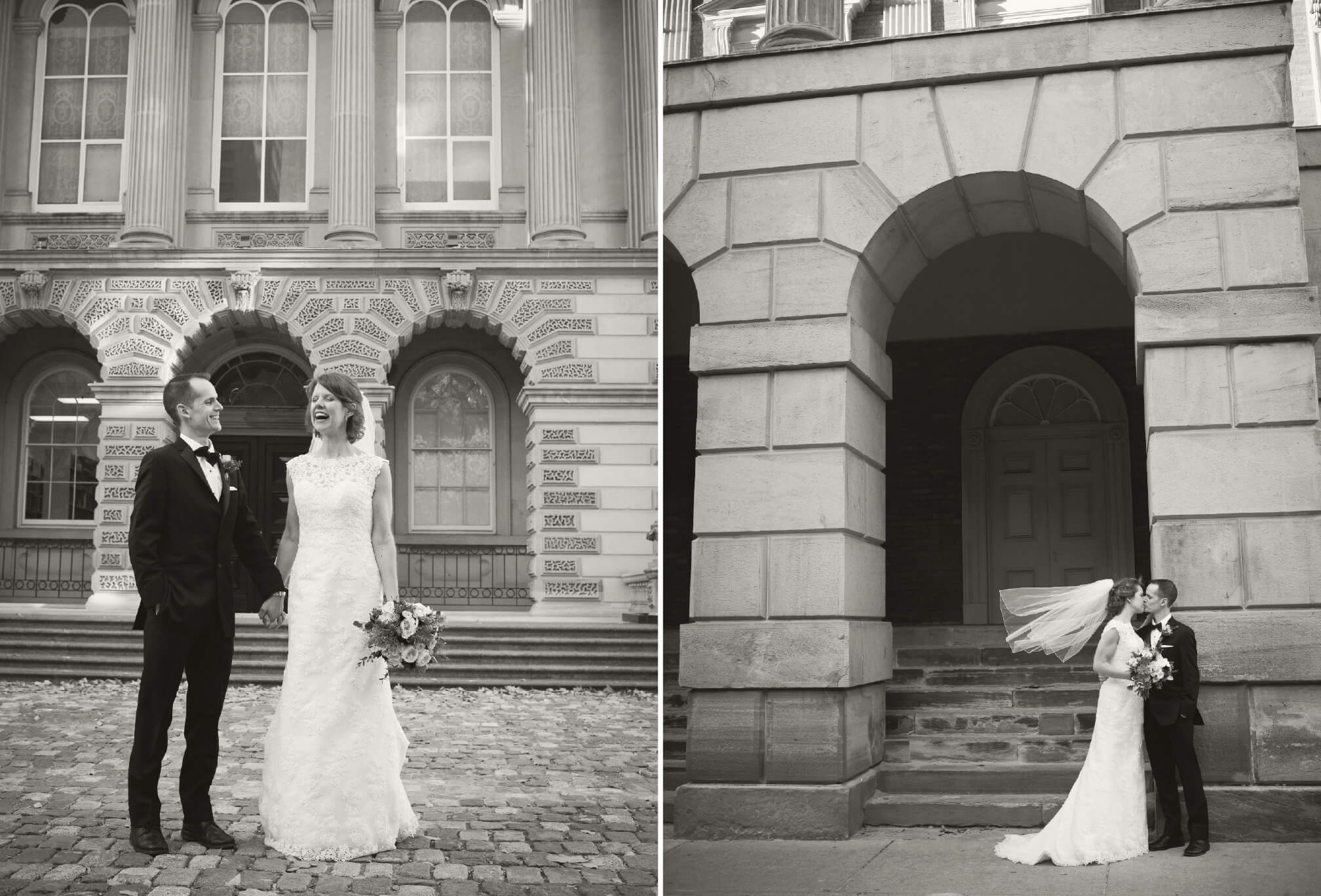 black and white wedding at osgoode hall