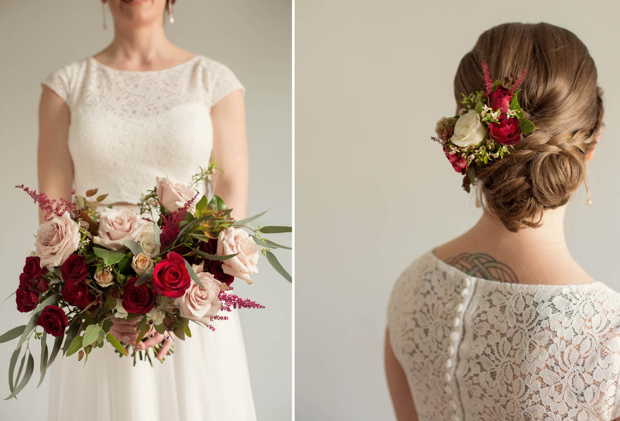 red floral hair piece wedding