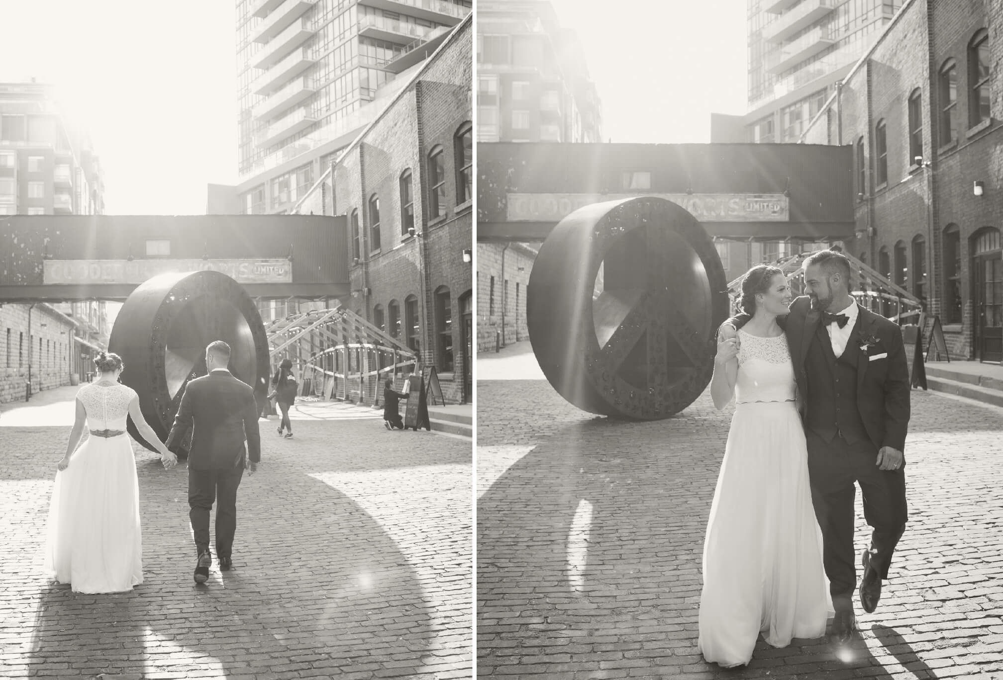bride and groom black and white distillery district toronto