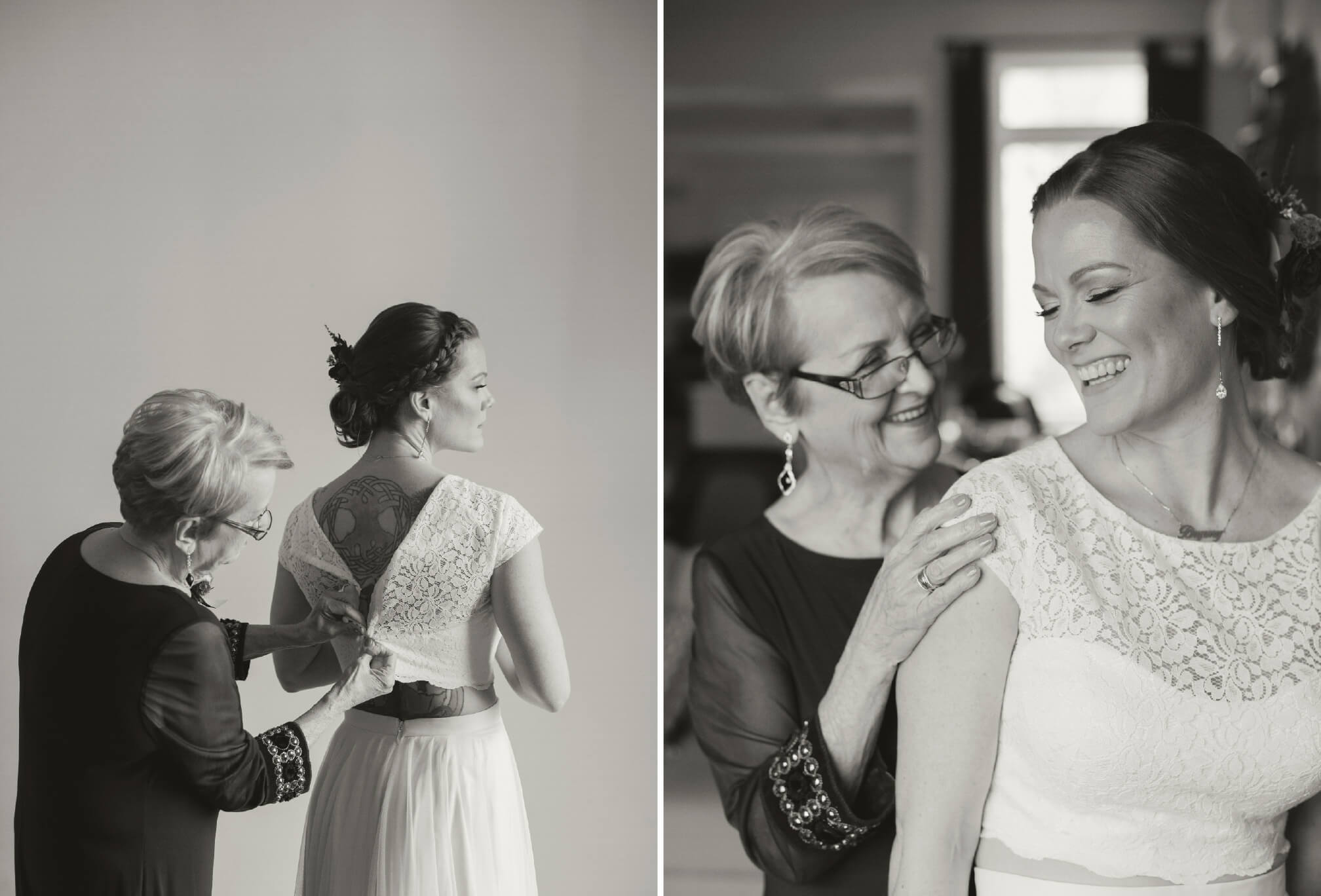 bride getting ready with mom black and white
