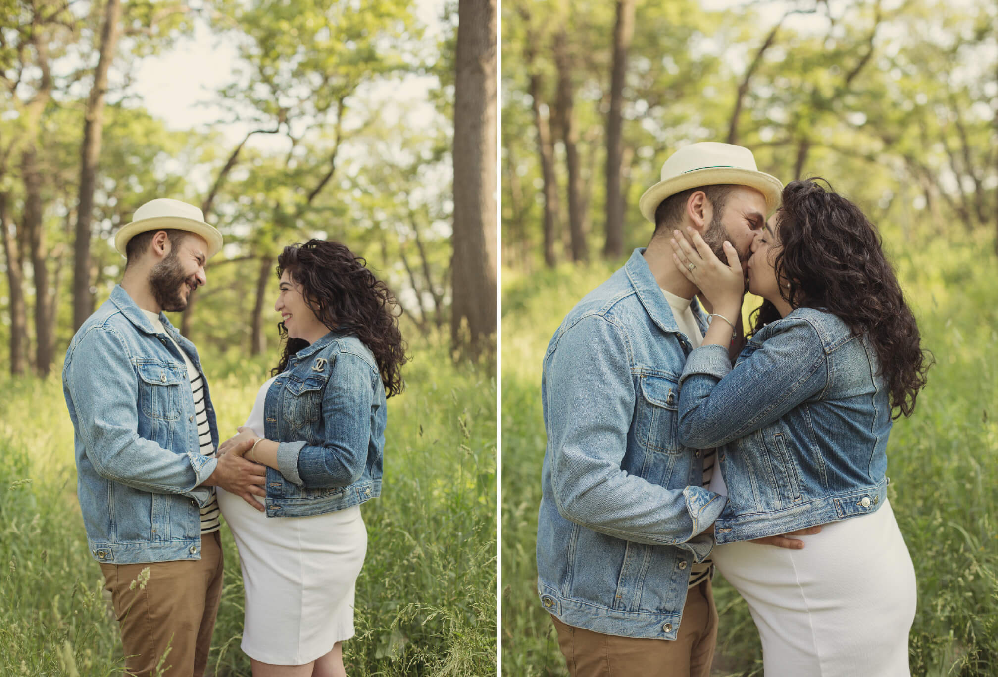 maternity photos jean jackets