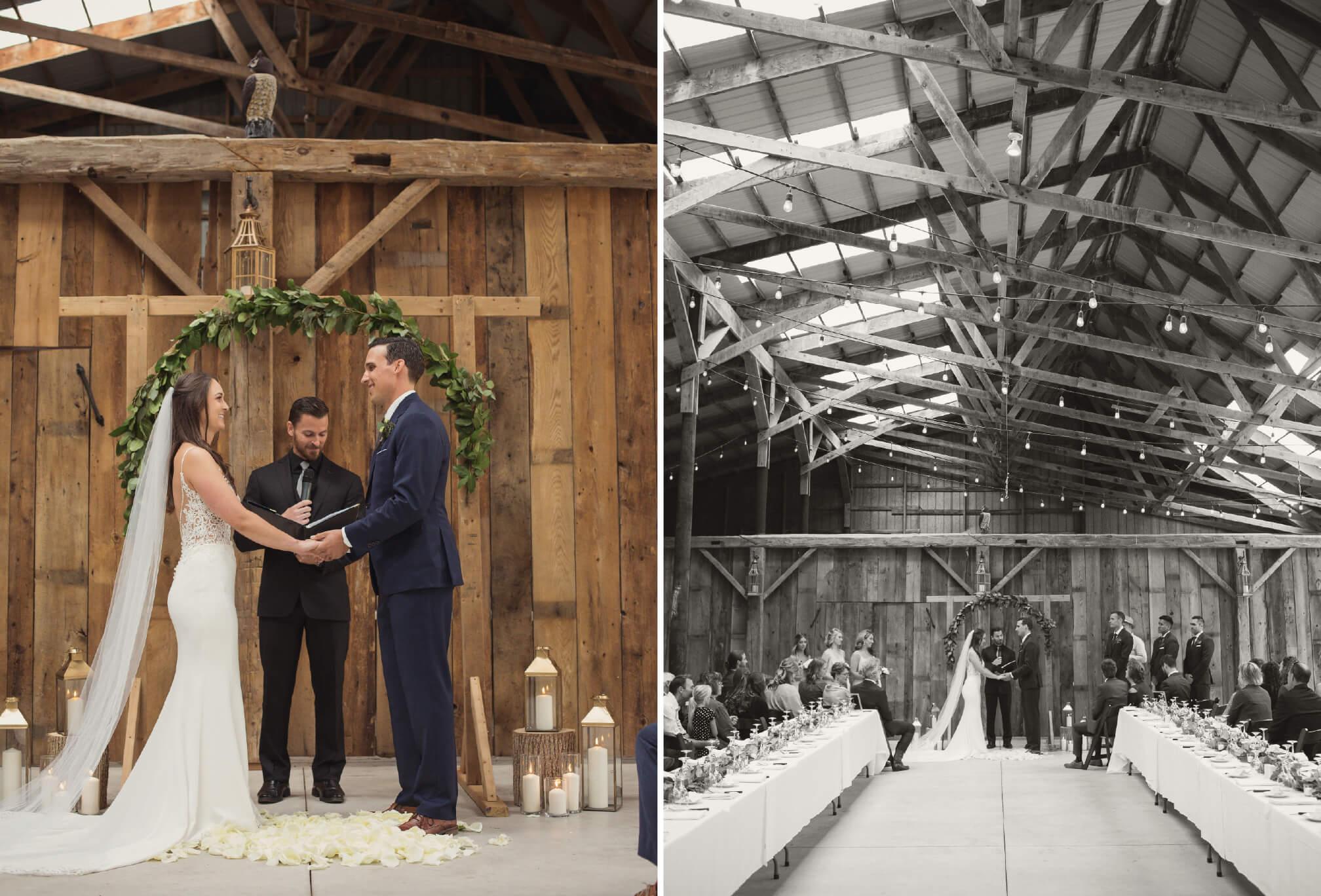rustic barn wedding ceremony ontario