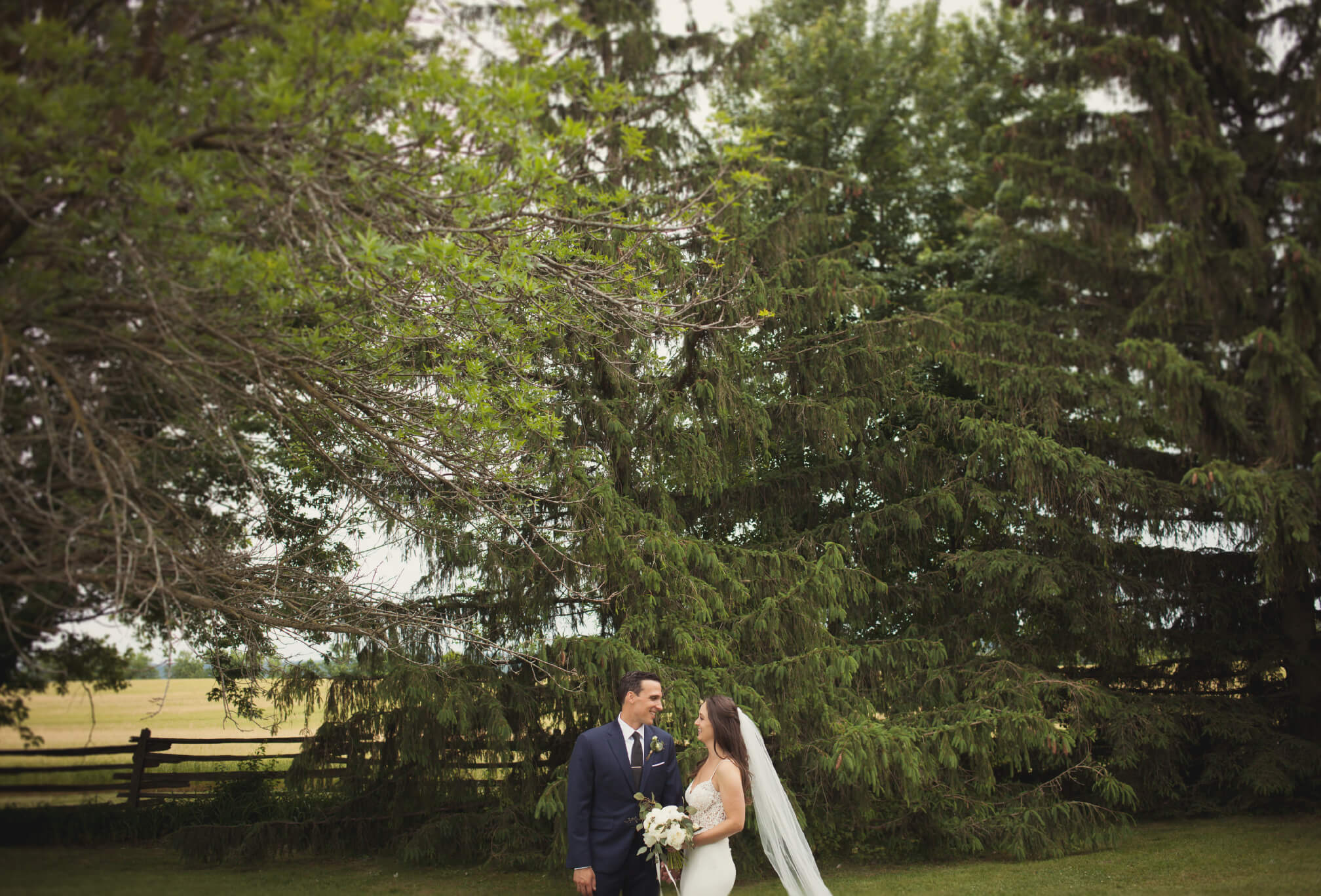 bride and groom forest wedding photography