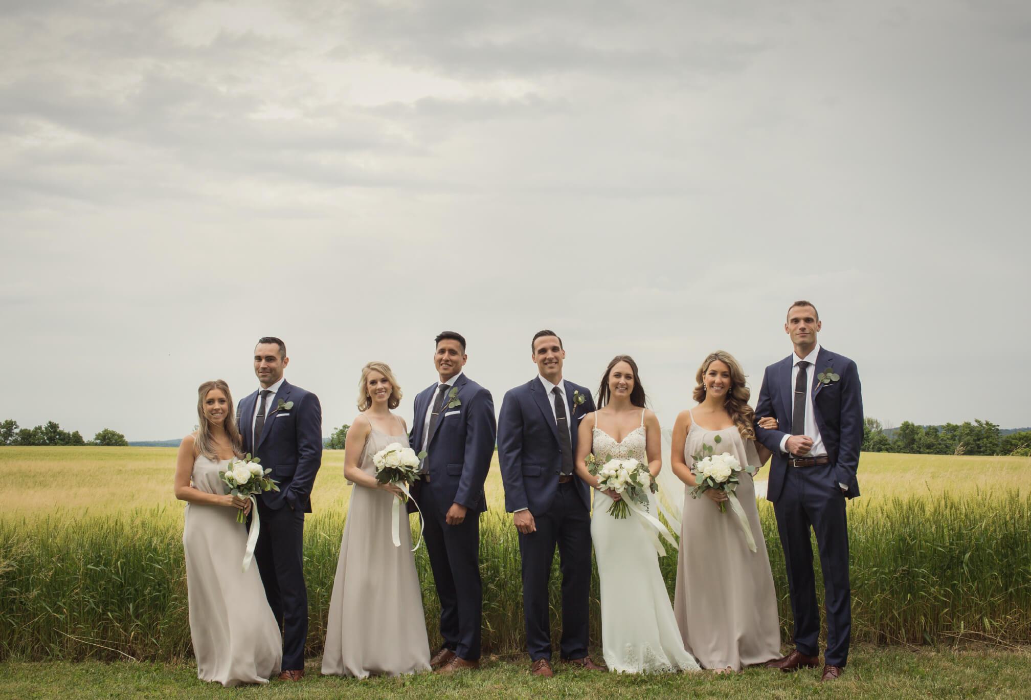 bridal party farm field wedding