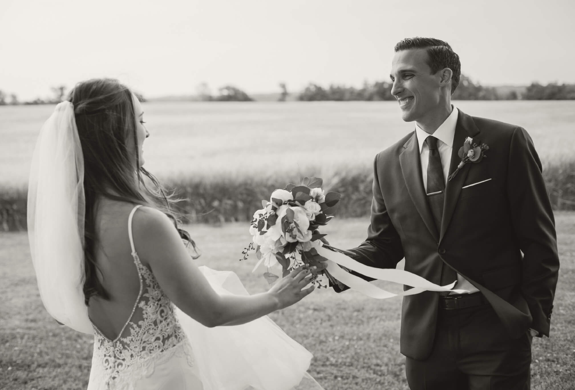 adorable candid bride and groom