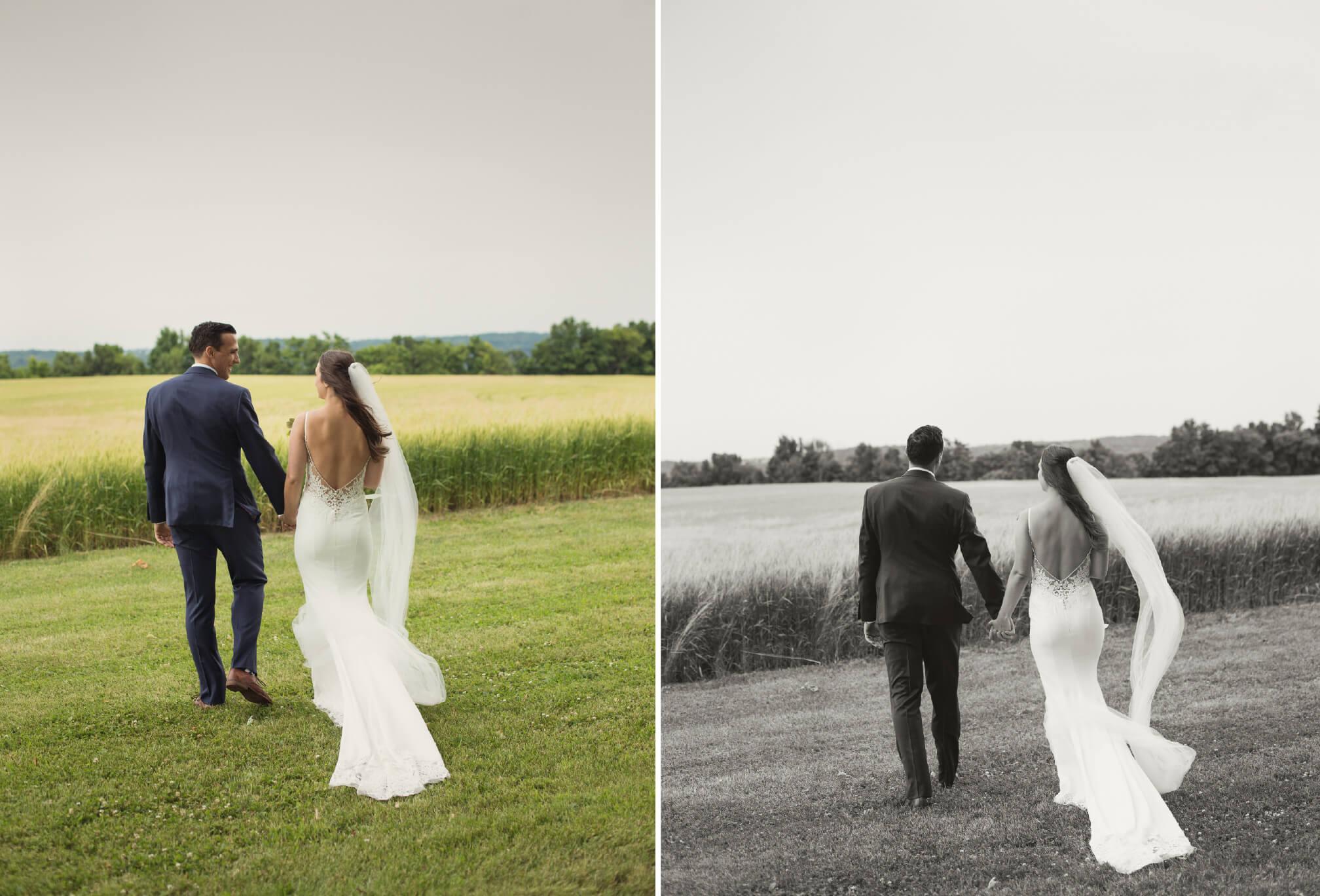 bride and groom walking rustic farm wedding
