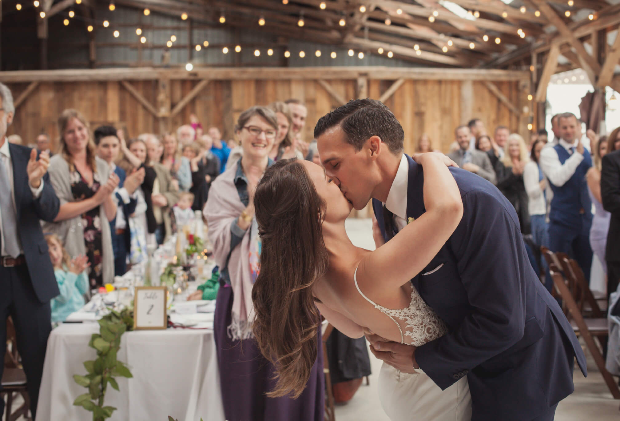 bride and groom reception at dyments farm