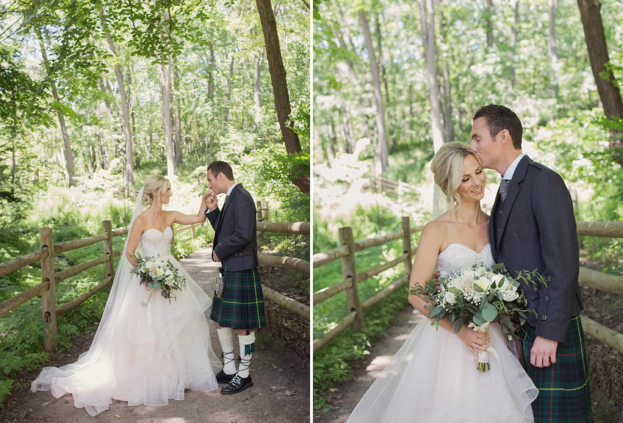 bride and groom glen stewart ravine toronto