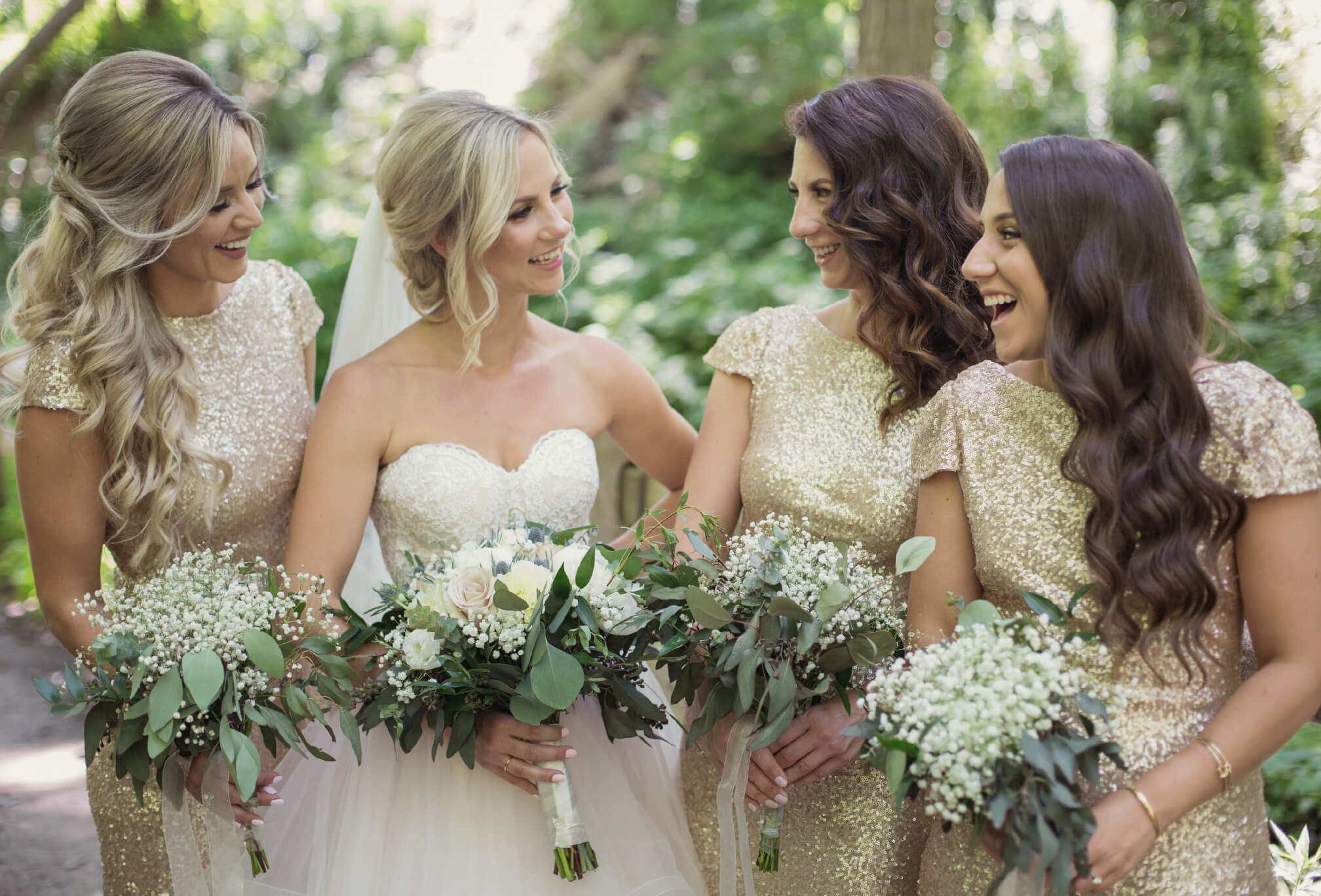candid moments with bridesmaids