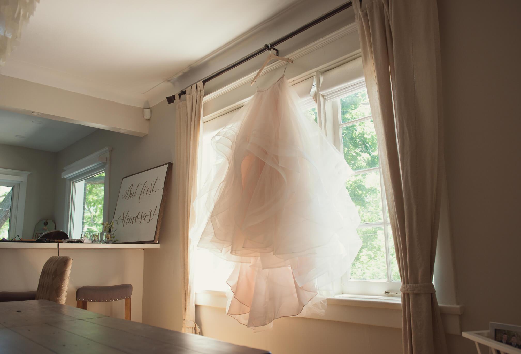 pink wedding dress detail