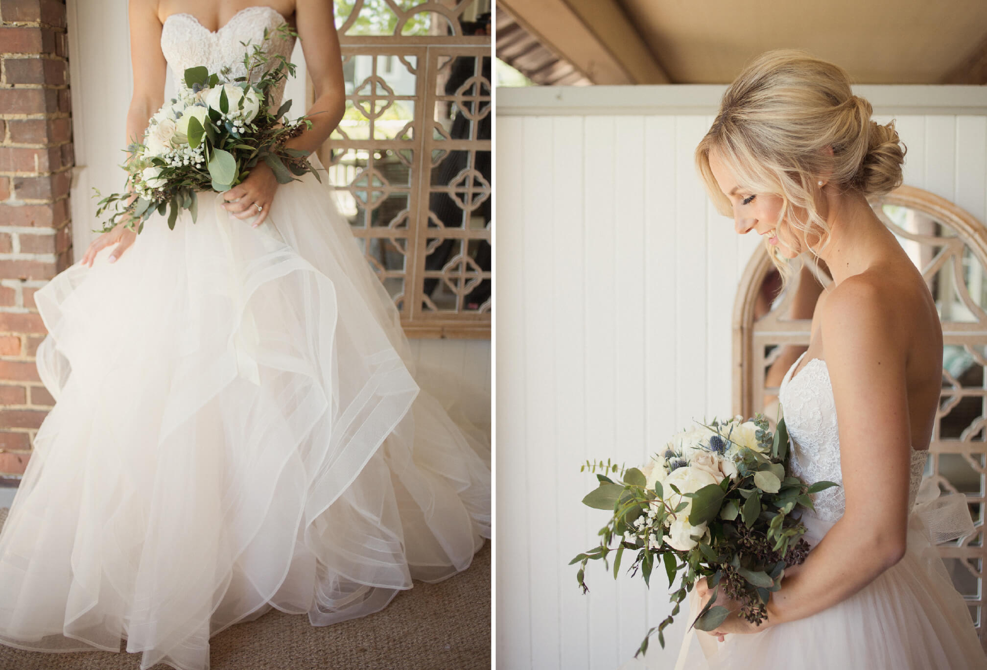 bride with gorgeous bouquet