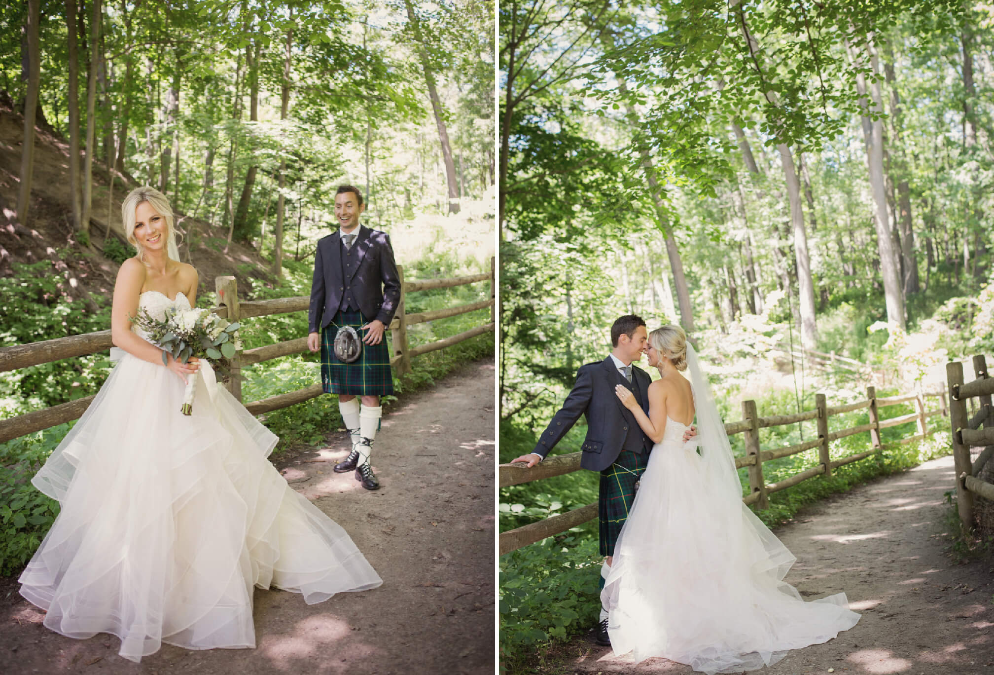 bride and groom first look in forest