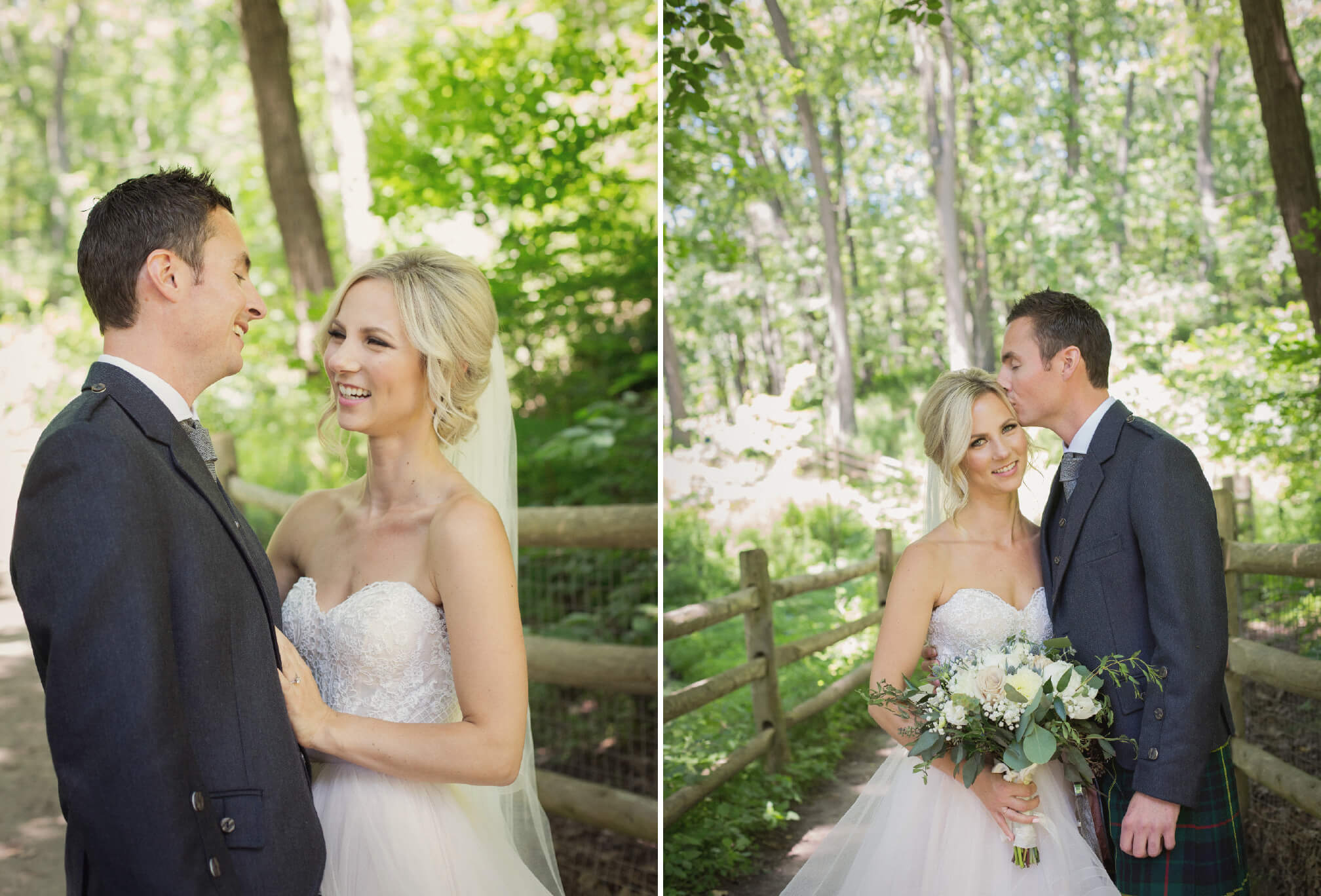 bride and groom laughing in forest