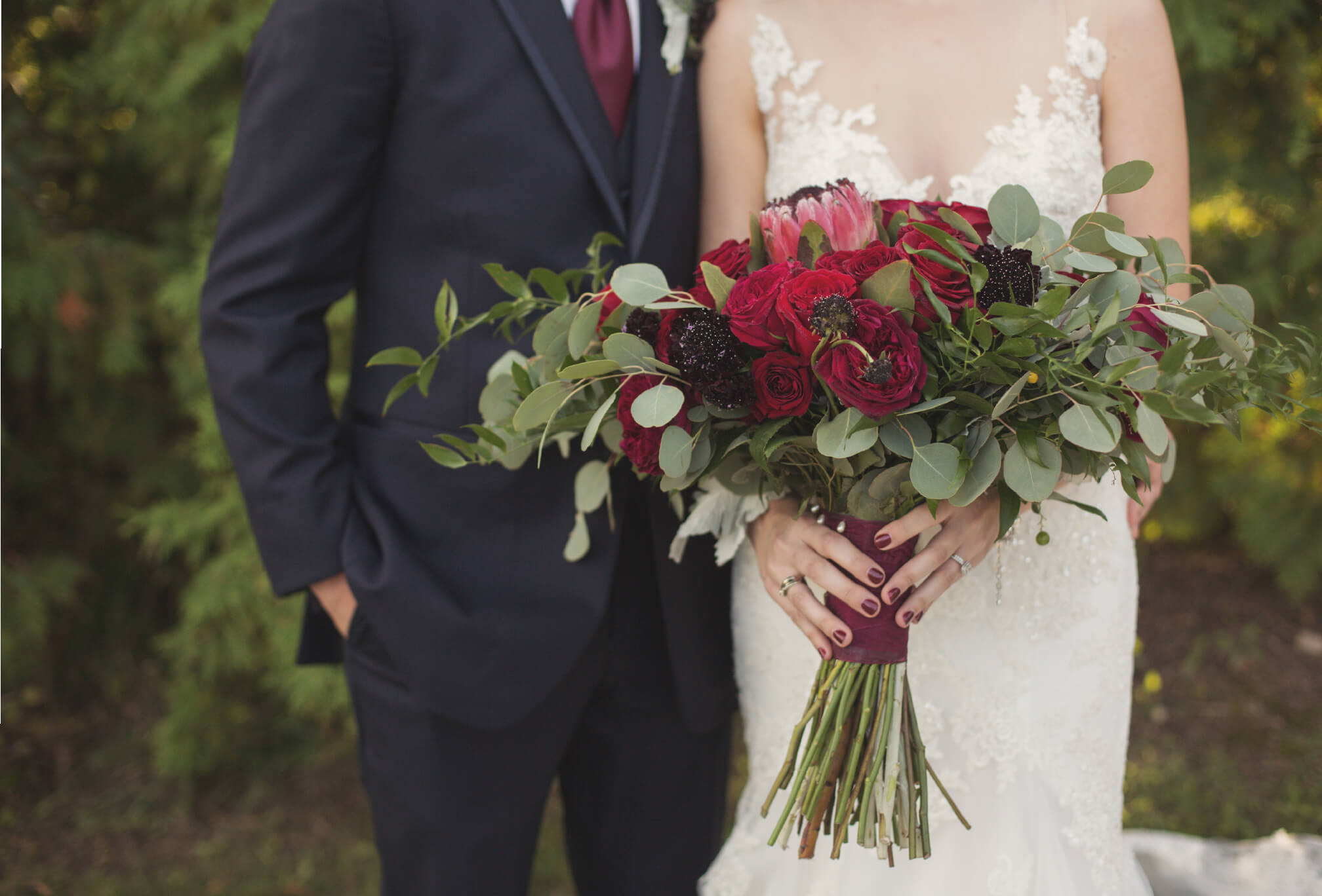red rose and eucalyptus bouquet