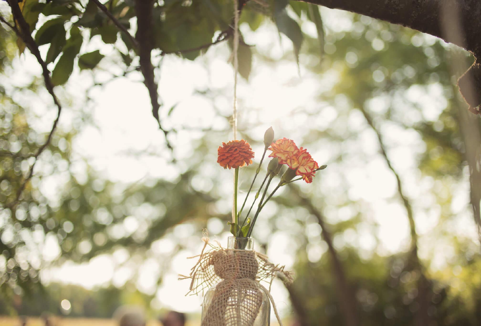 farm wedding mason jar details