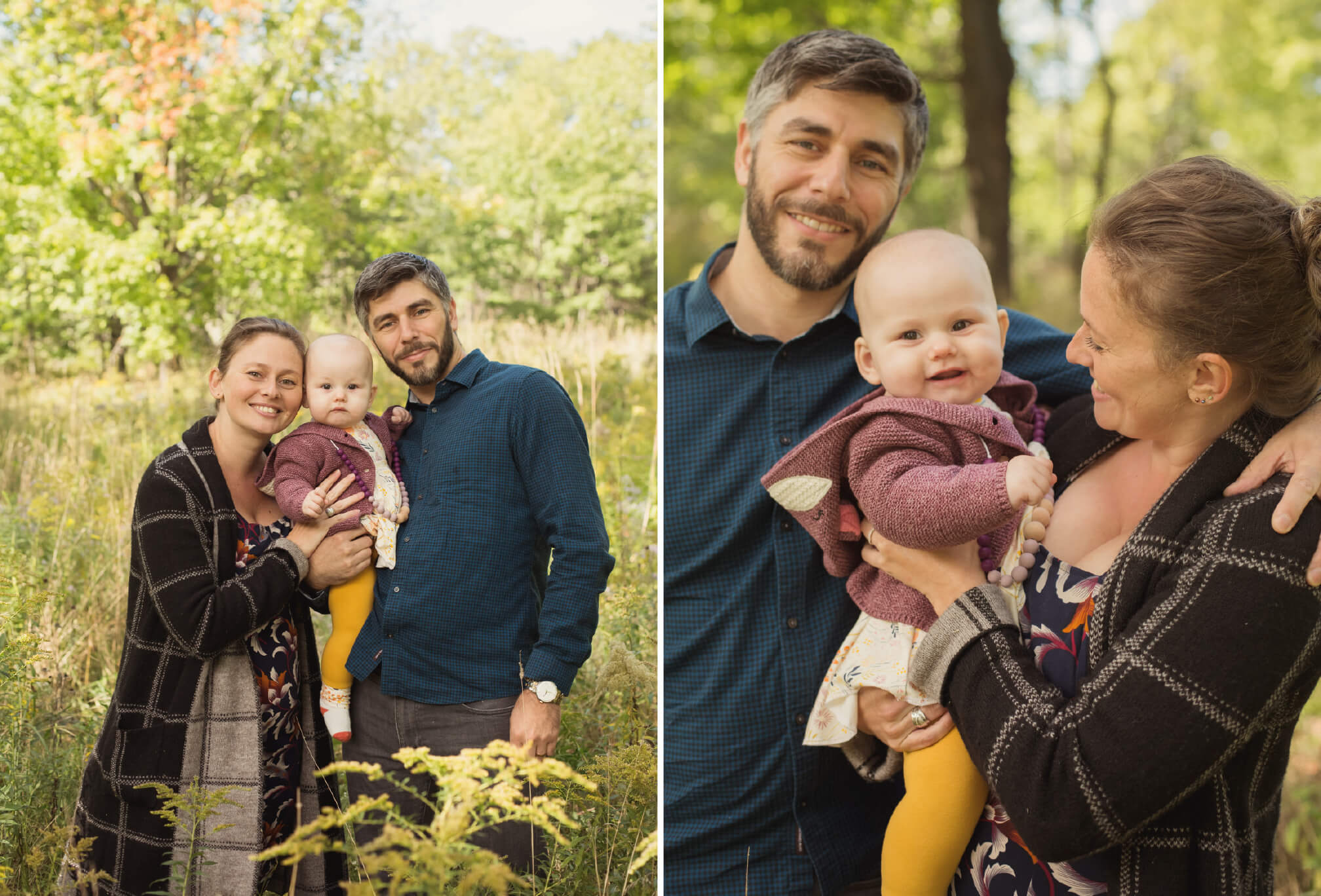 baby with mom and dad photographs in fall